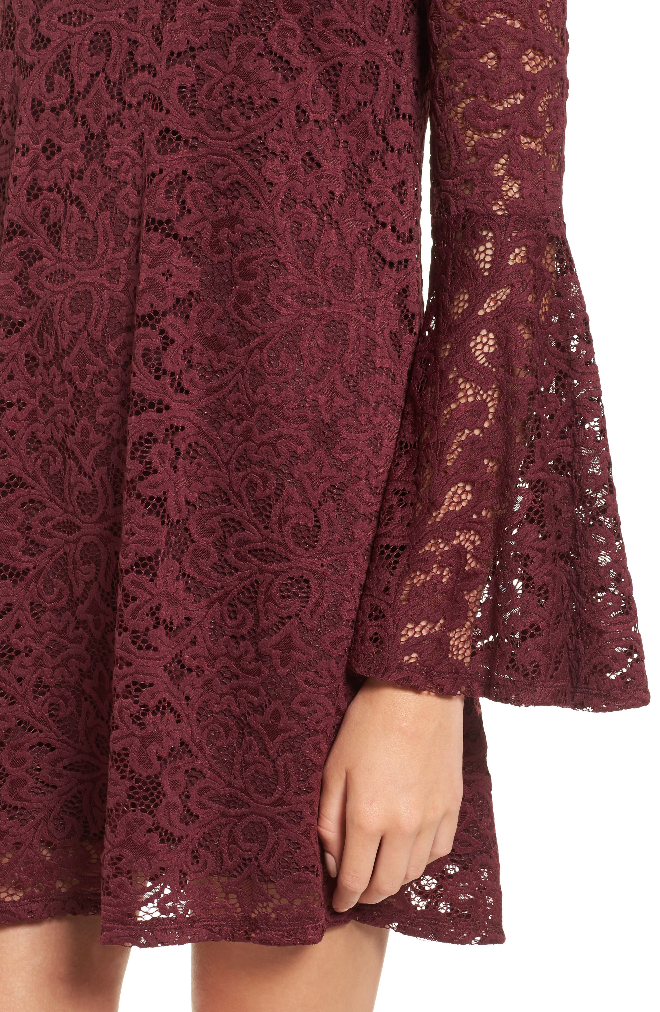 Lace Bell Sleeve Off the Shoulder Dress,                             Alternate thumbnail 4, color,                             930