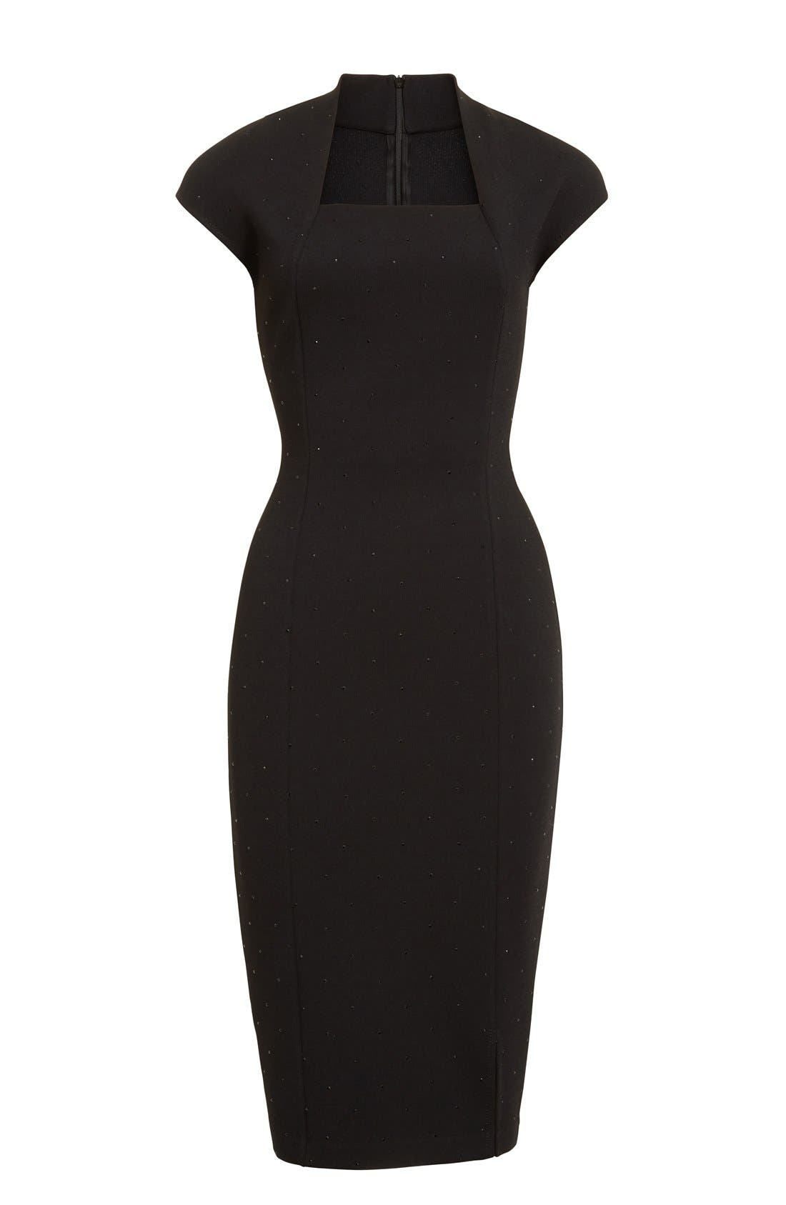 Embellished Luxe Sculpture Knit Dress,                             Alternate thumbnail 3, color,                             001