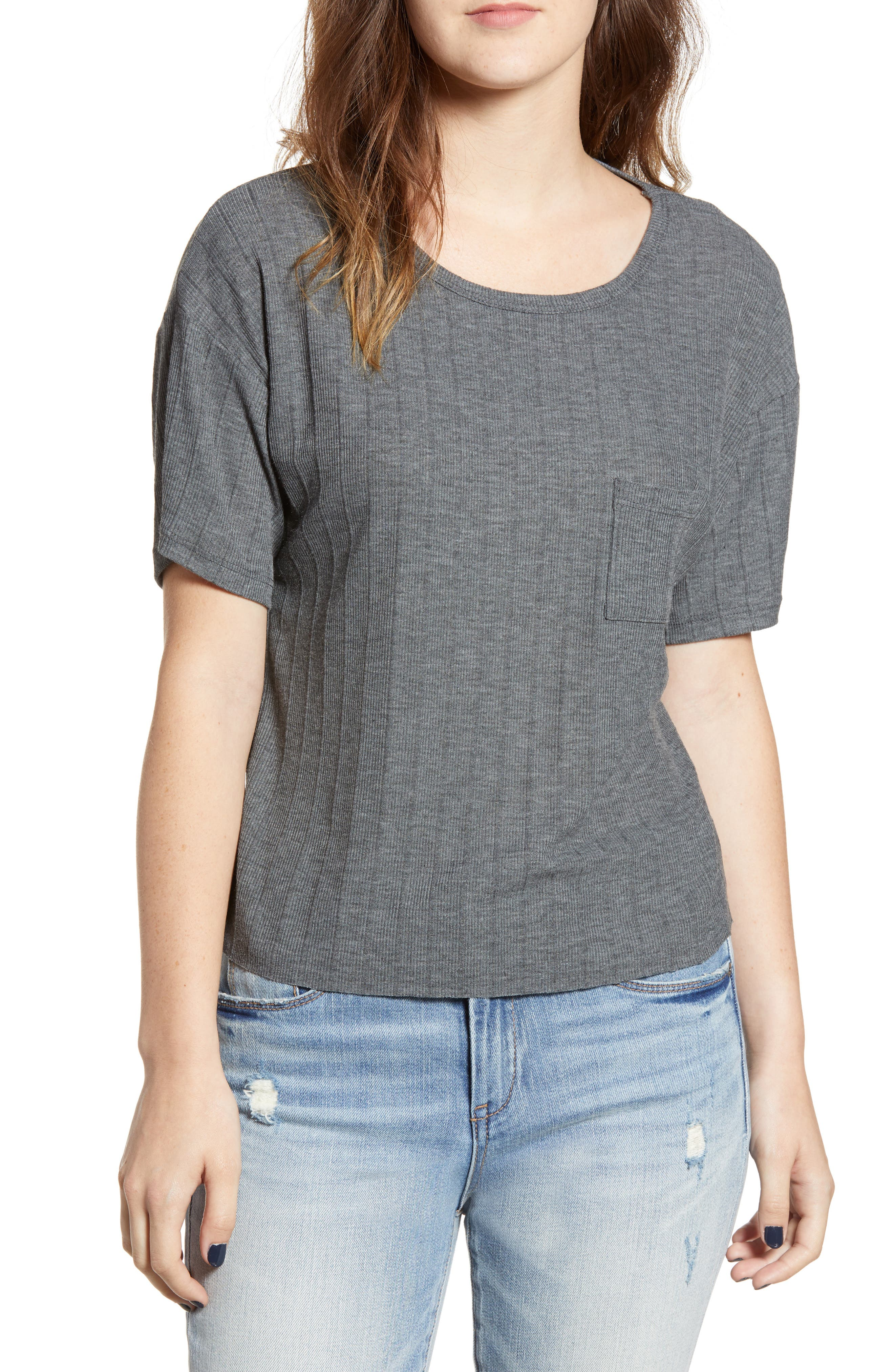 Variegated Rib Knit Tee,                         Main,                         color, CHARCOAL