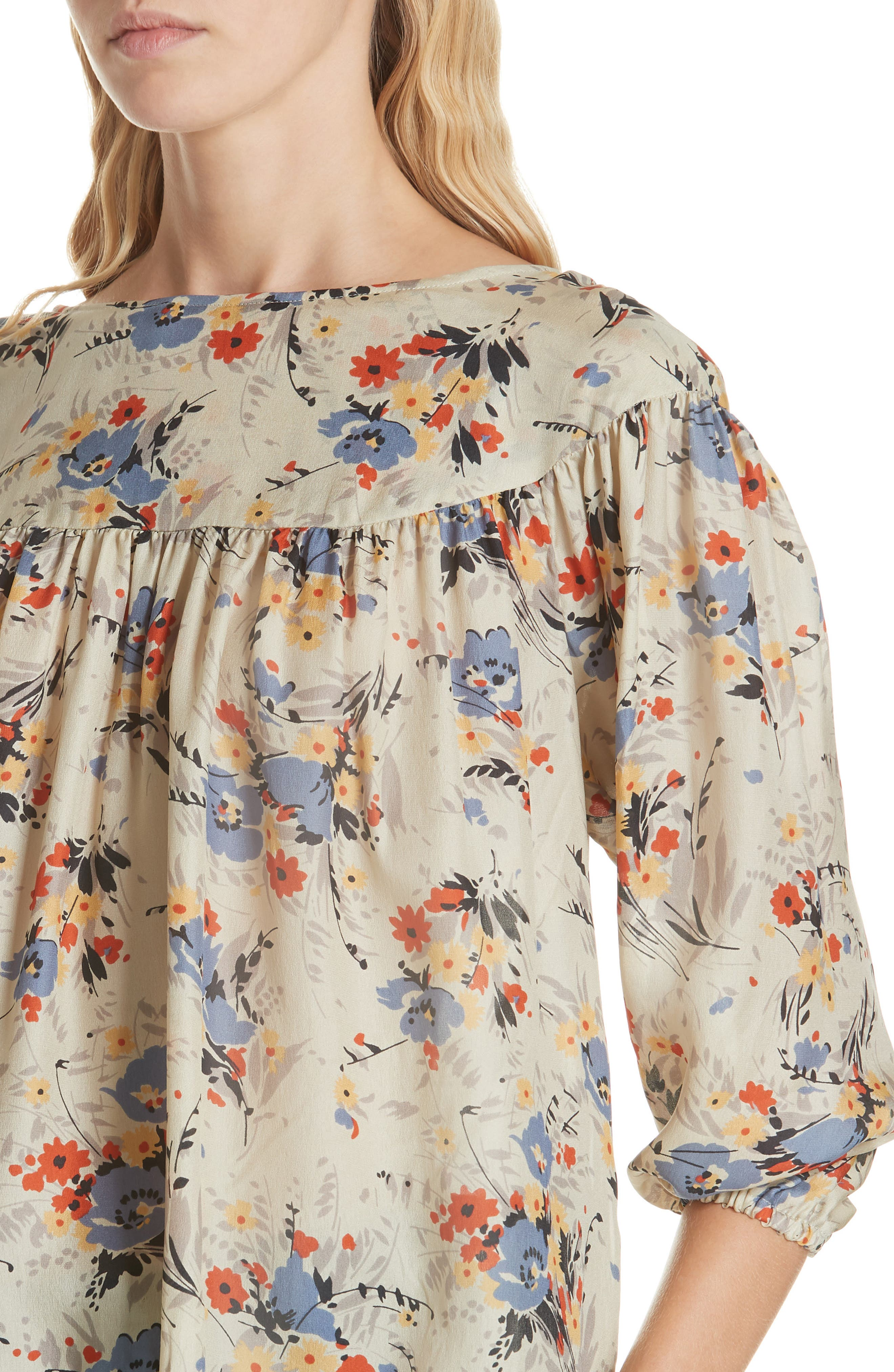 Duskfall Silk Blouse,                             Alternate thumbnail 4, color,                             WOODLAND FLORAL