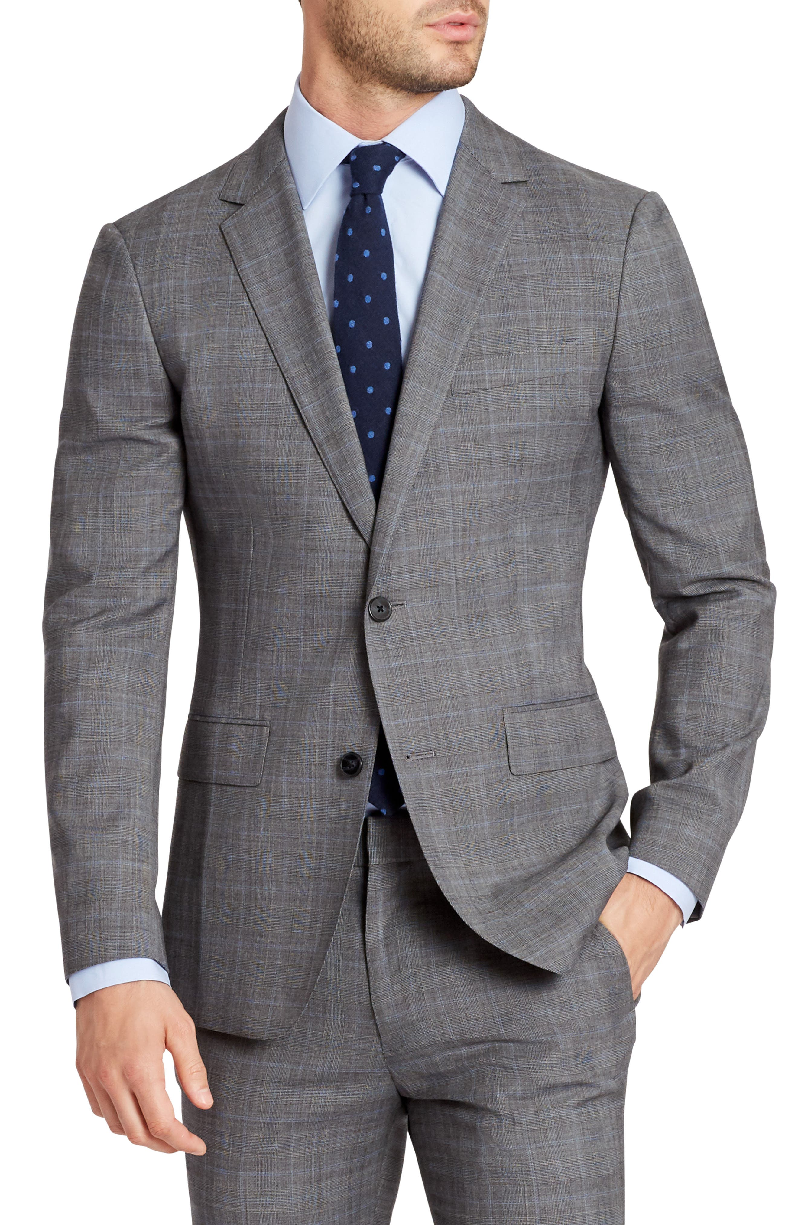 Jetsetter Slim Fit Plaid Stretch Wool Sport Coat,                             Alternate thumbnail 4, color,                             020