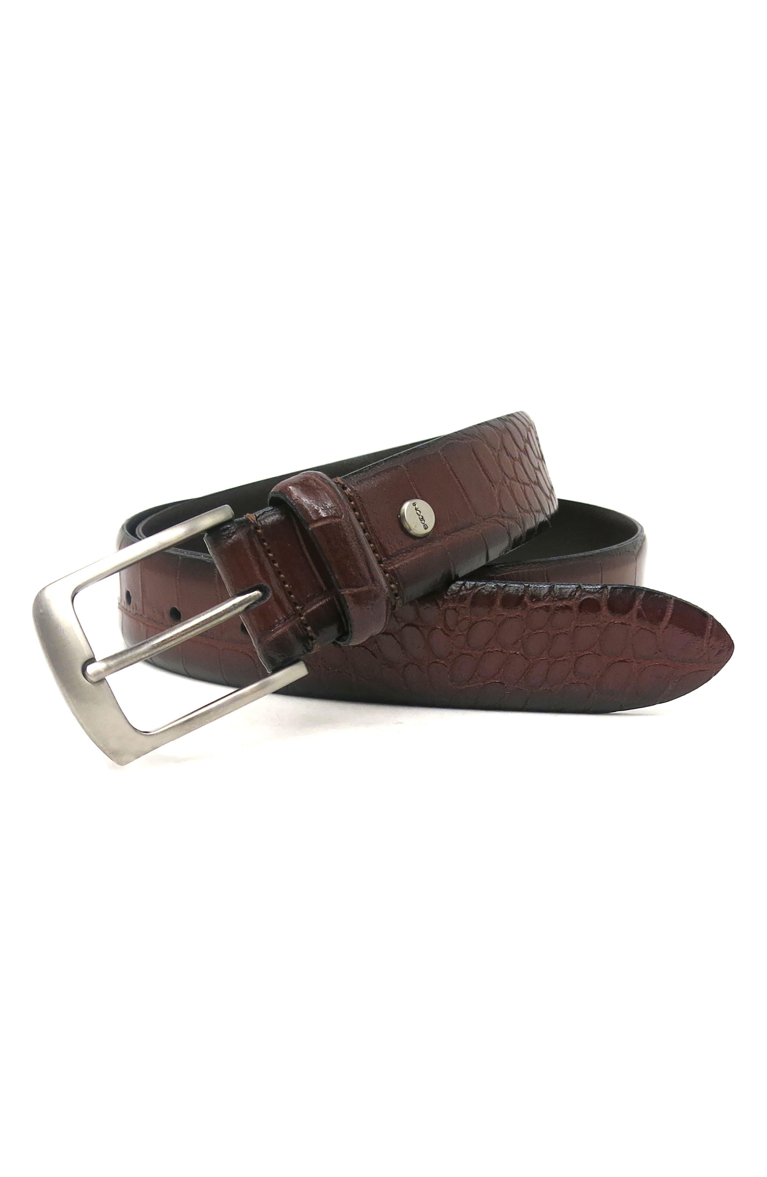 Croc Embossed Leather Belt,                             Alternate thumbnail 2, color,                             COGNAC
