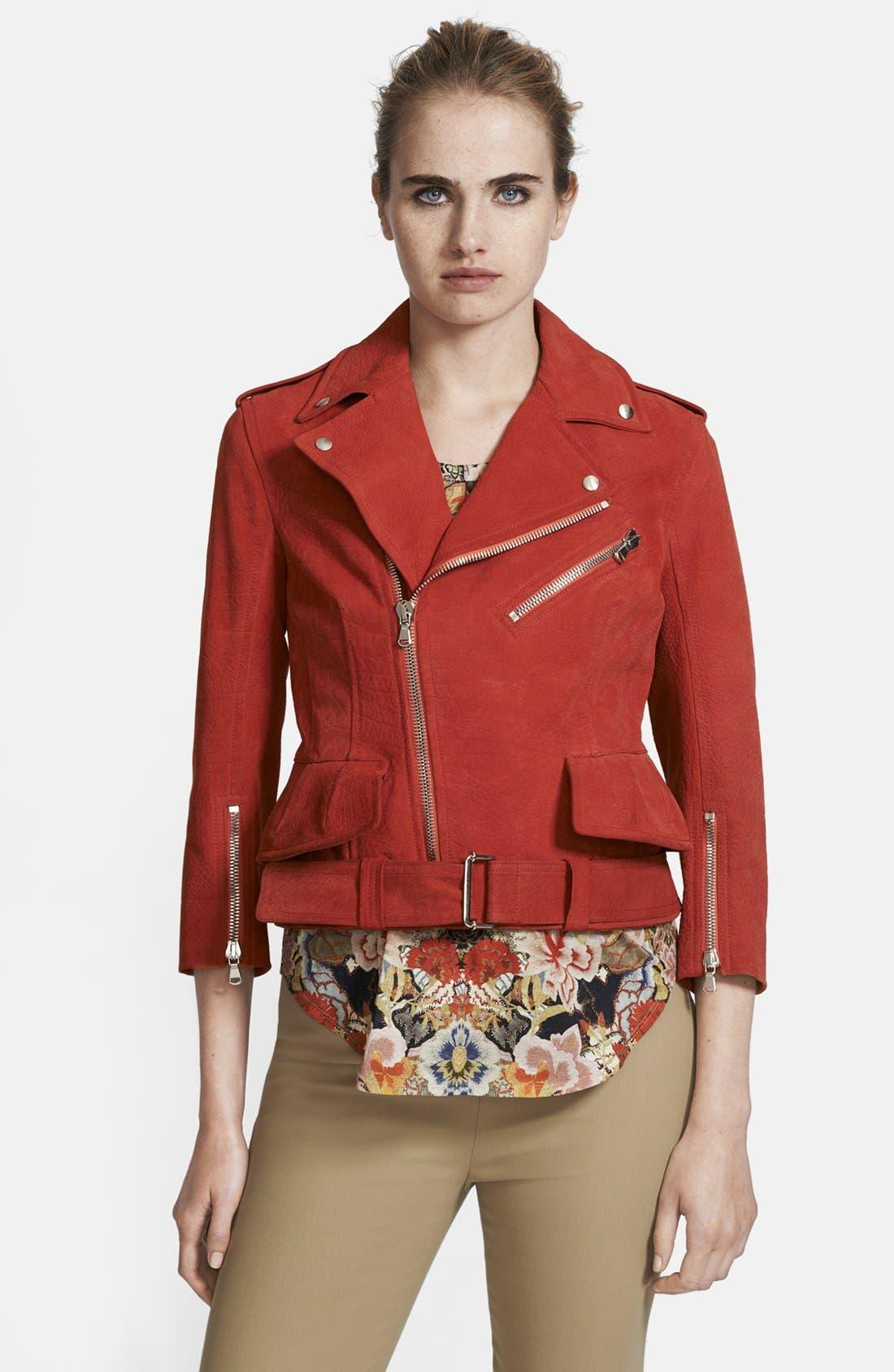 Leather Biker Jacket, Main, color, 605