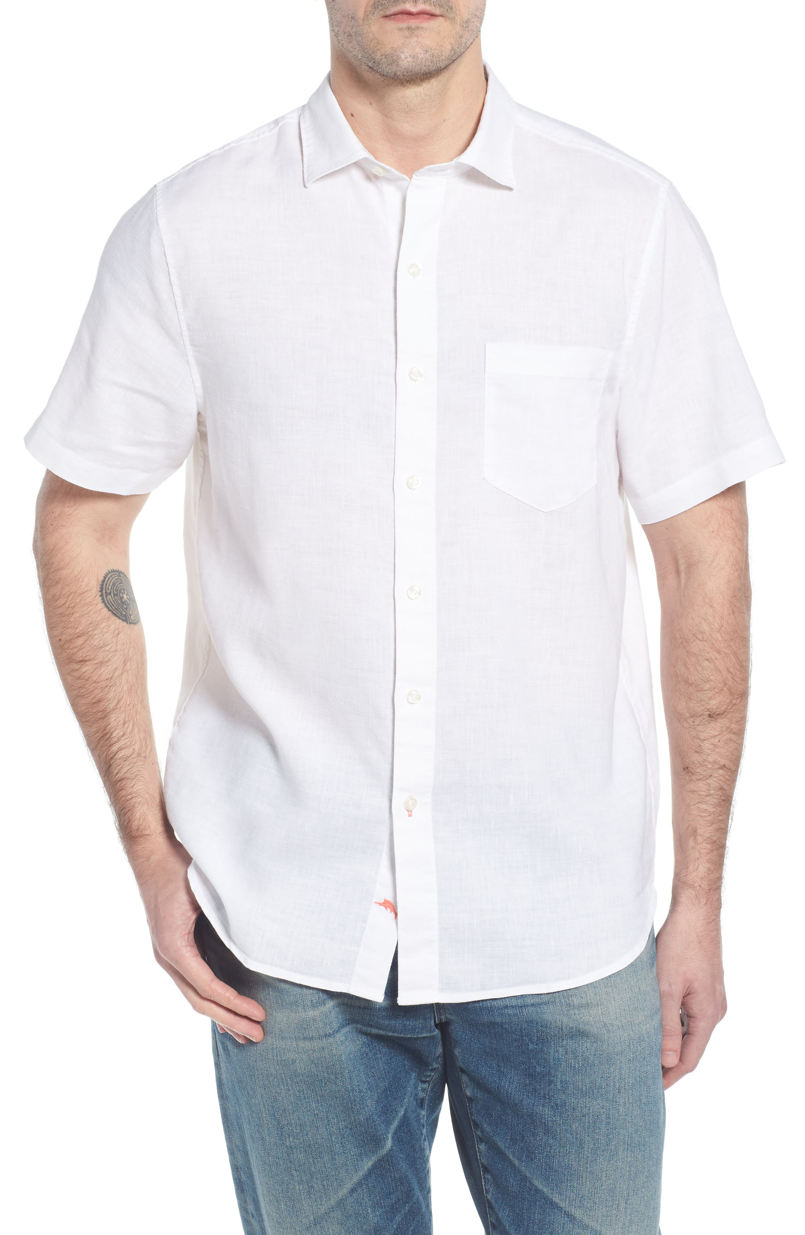 Lanai Tides Linen Blend Sport Shirt,                         Main,                         color, 100