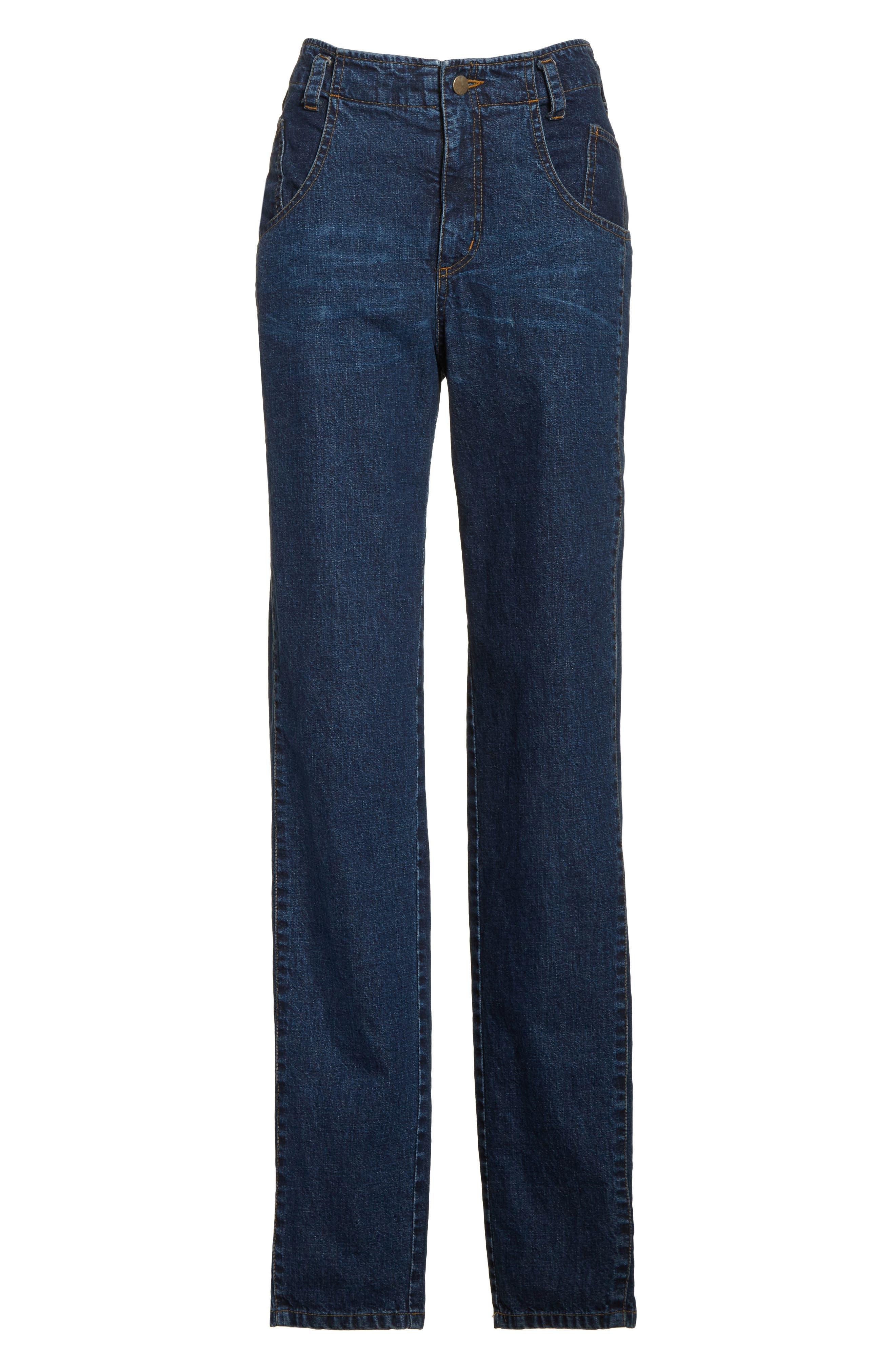 Long Trigger Straight Leg Jeans,                             Alternate thumbnail 6, color,                             420