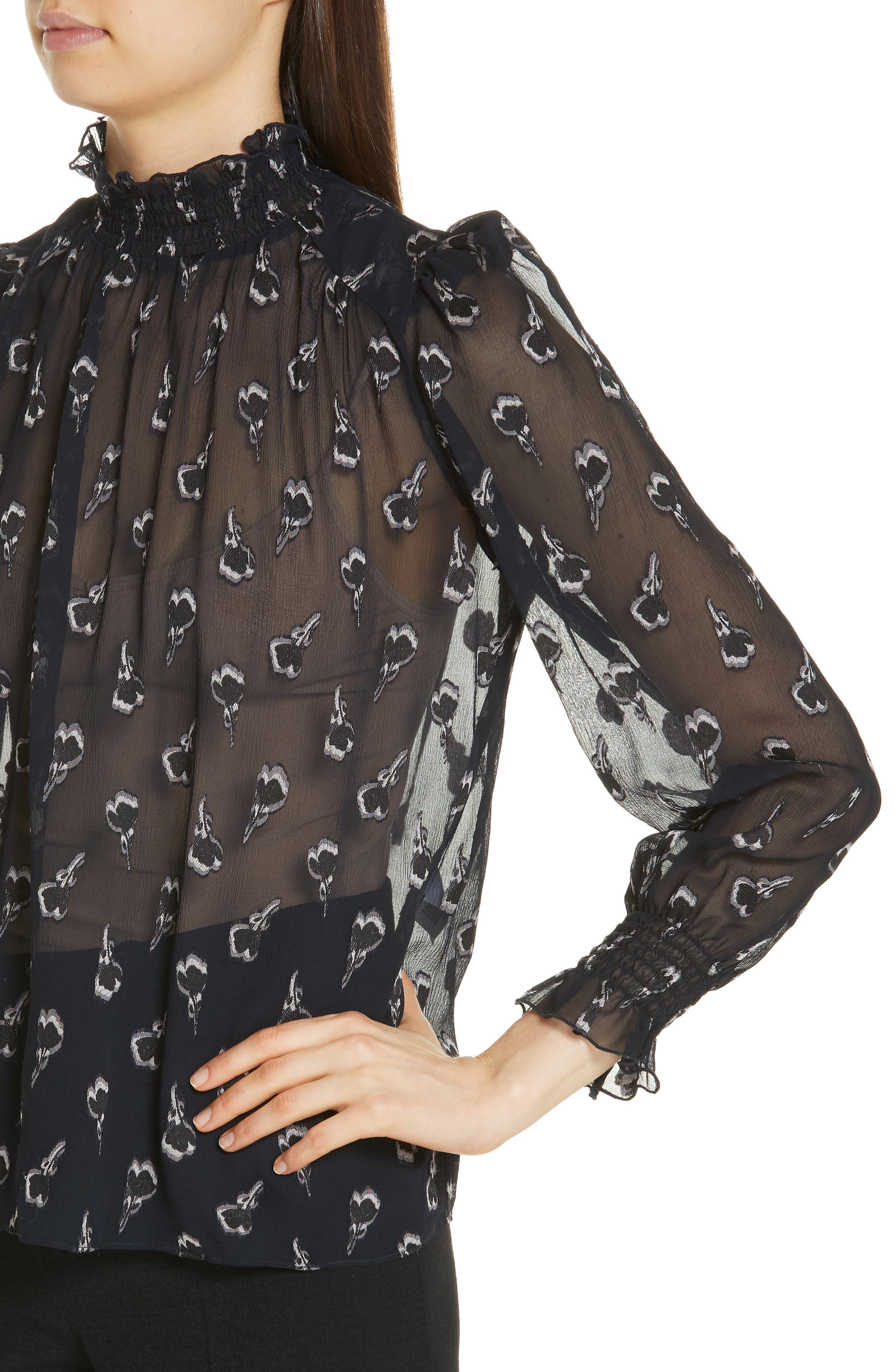 BA&SH,                             Malawi Tumbling Blossoms Silk Georgette Blouse,                             Alternate thumbnail 4, color,                             NOIR