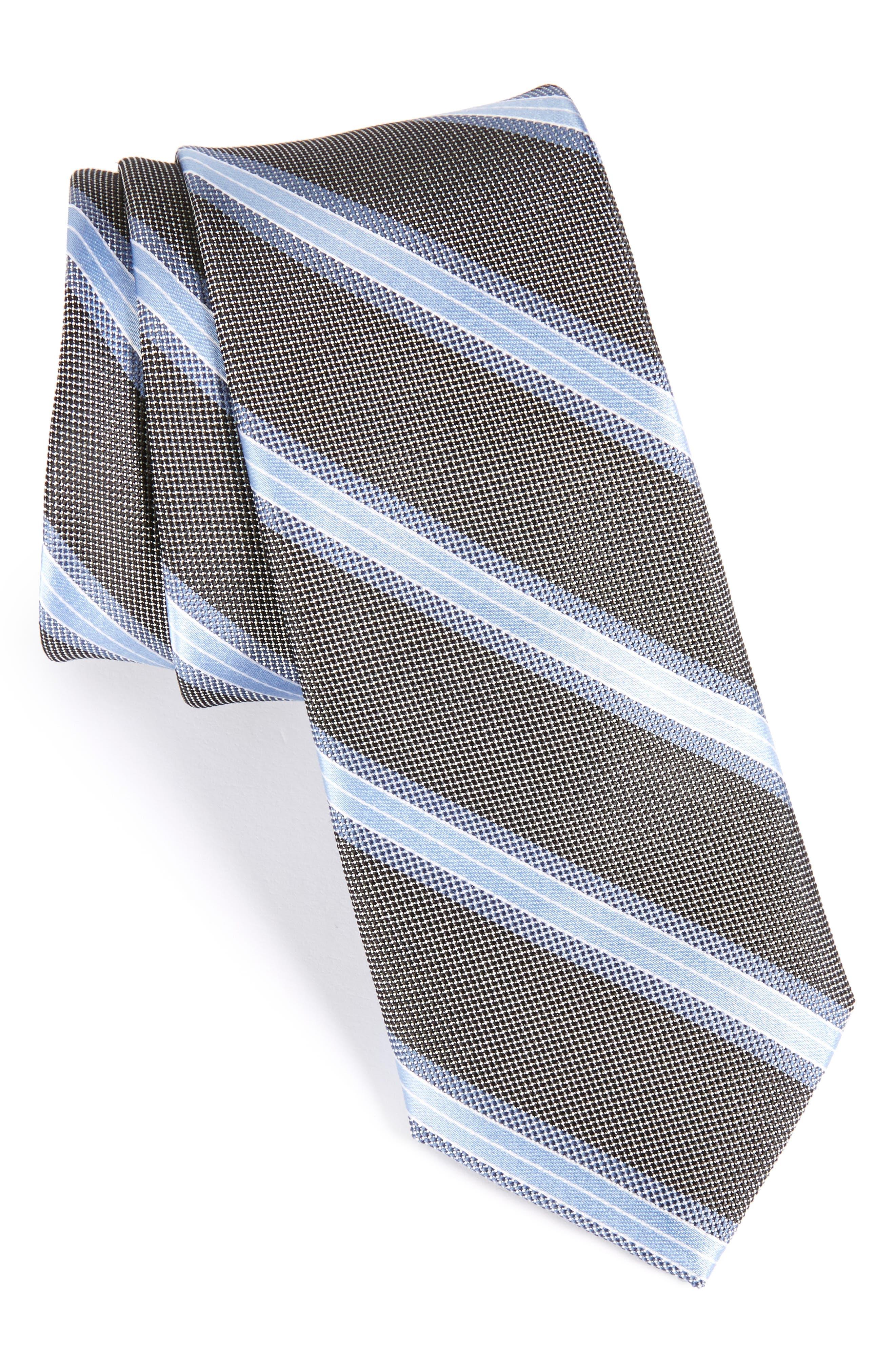 Stripe Silk Skinny Tie,                             Main thumbnail 1, color,