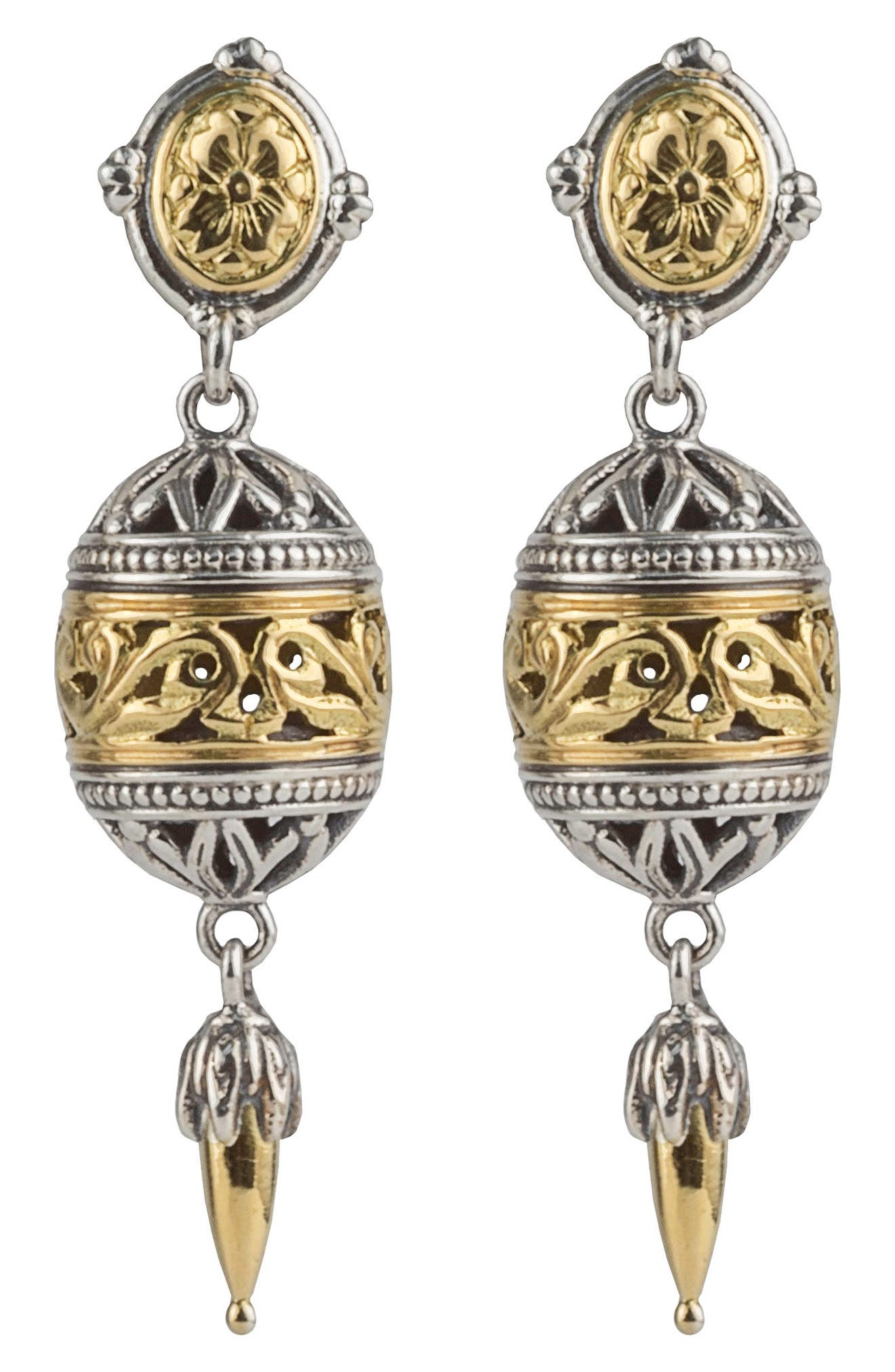Gaia Filligree Drop Earrings,                             Main thumbnail 1, color,                             SILVER/ GOLD