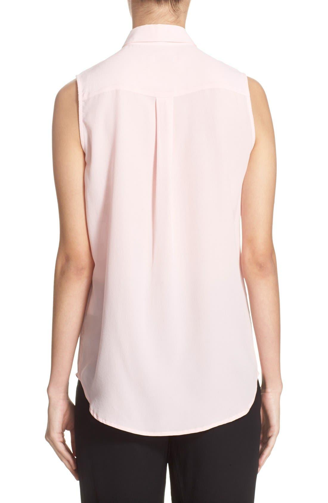 'Slim Signature' Sleeveless Silk Shirt,                             Alternate thumbnail 204, color,