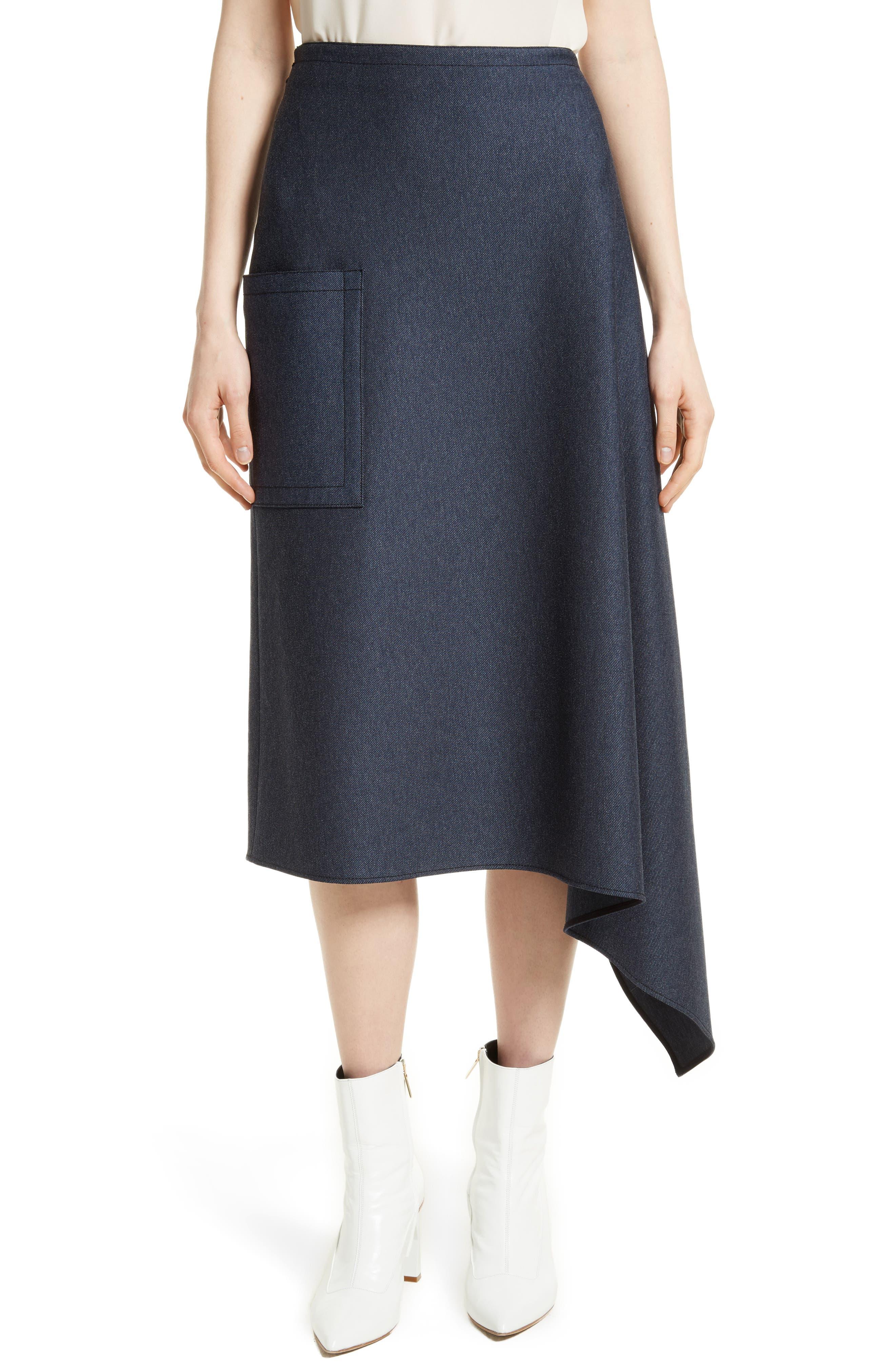 Origami Asymmetrical Twill Skirt,                             Main thumbnail 1, color,                             402