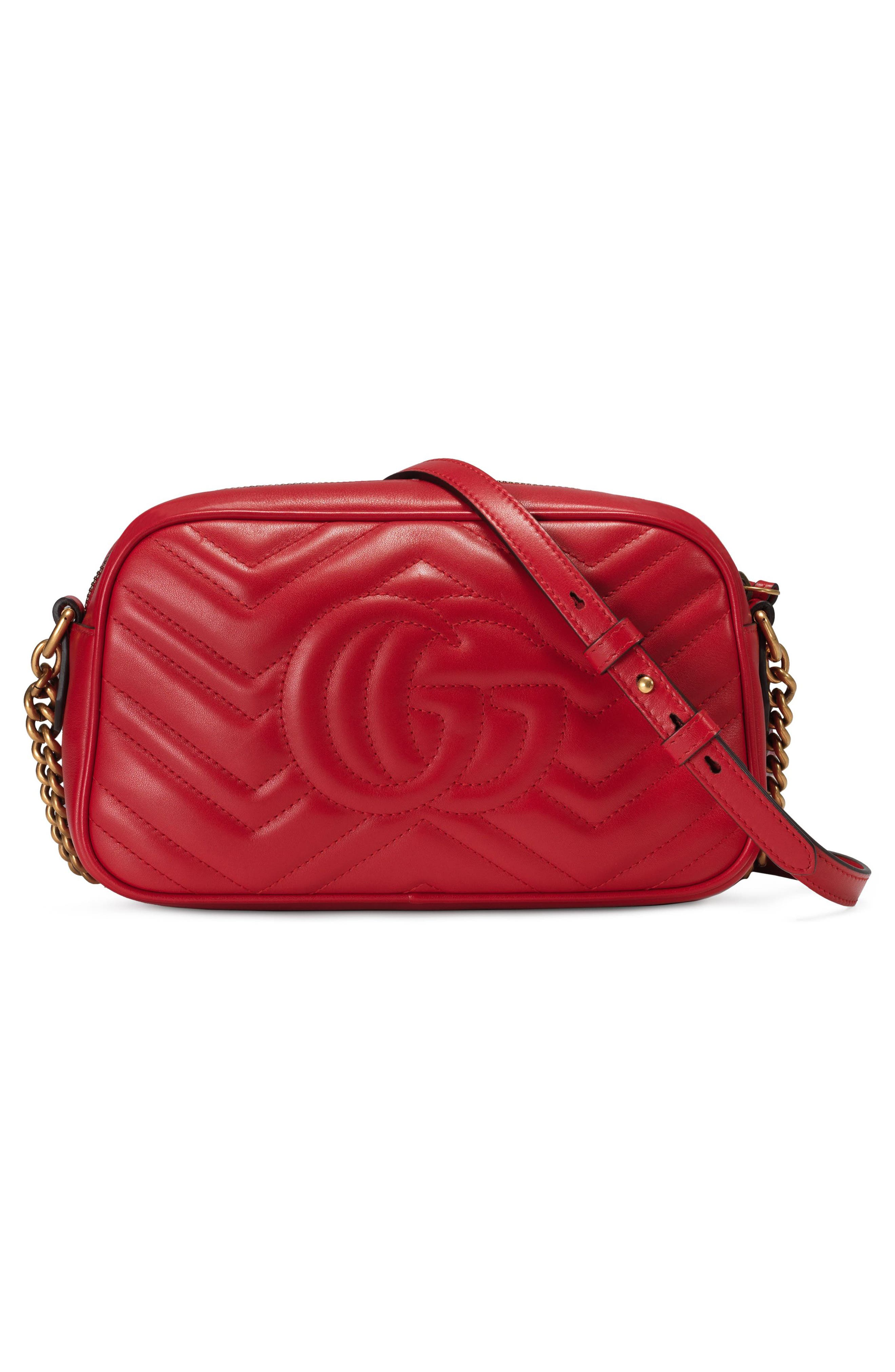 GUCCI,                             Small GG Marmont 2.0 Matelassé Leather Camera Bag,                             Alternate thumbnail 2, color,                             HIBISCUS RED/ HIBISCUS RED