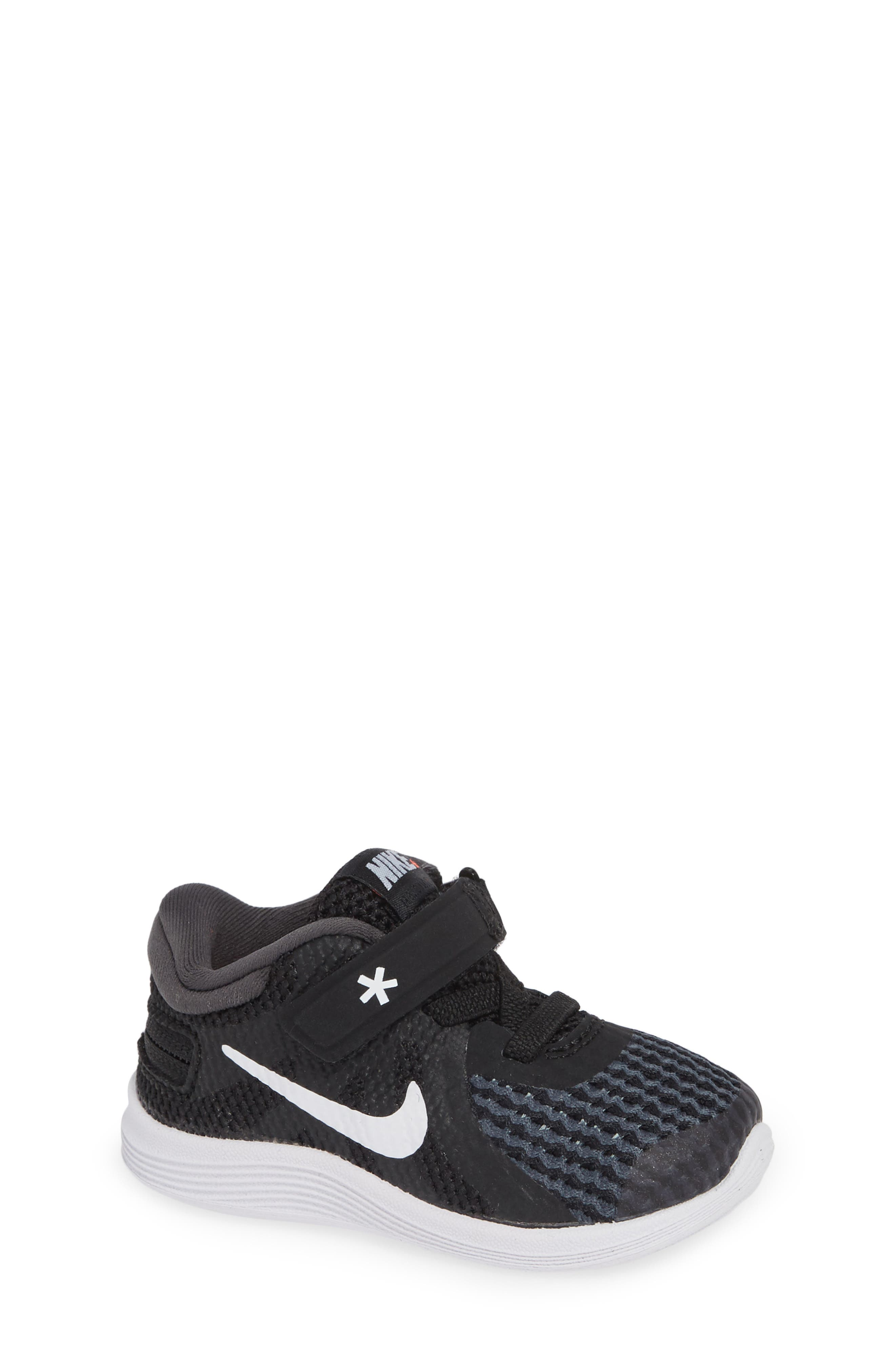NIKE,                             Revolution 4 Flyease Sneaker,                             Main thumbnail 1, color,                             BLACK TOTAL CRIMSON