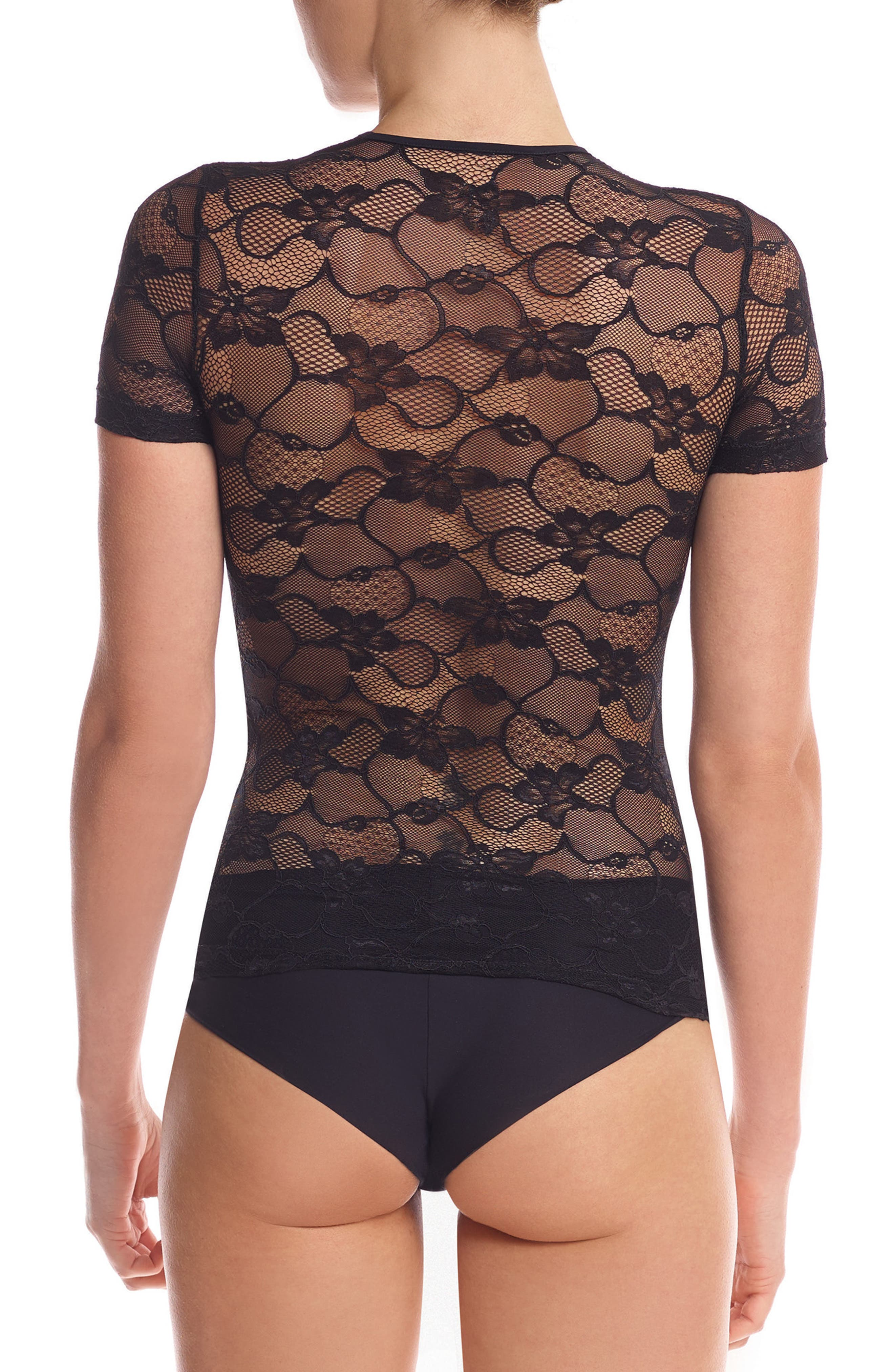 Floral Lace Tee,                             Alternate thumbnail 2, color,                             001