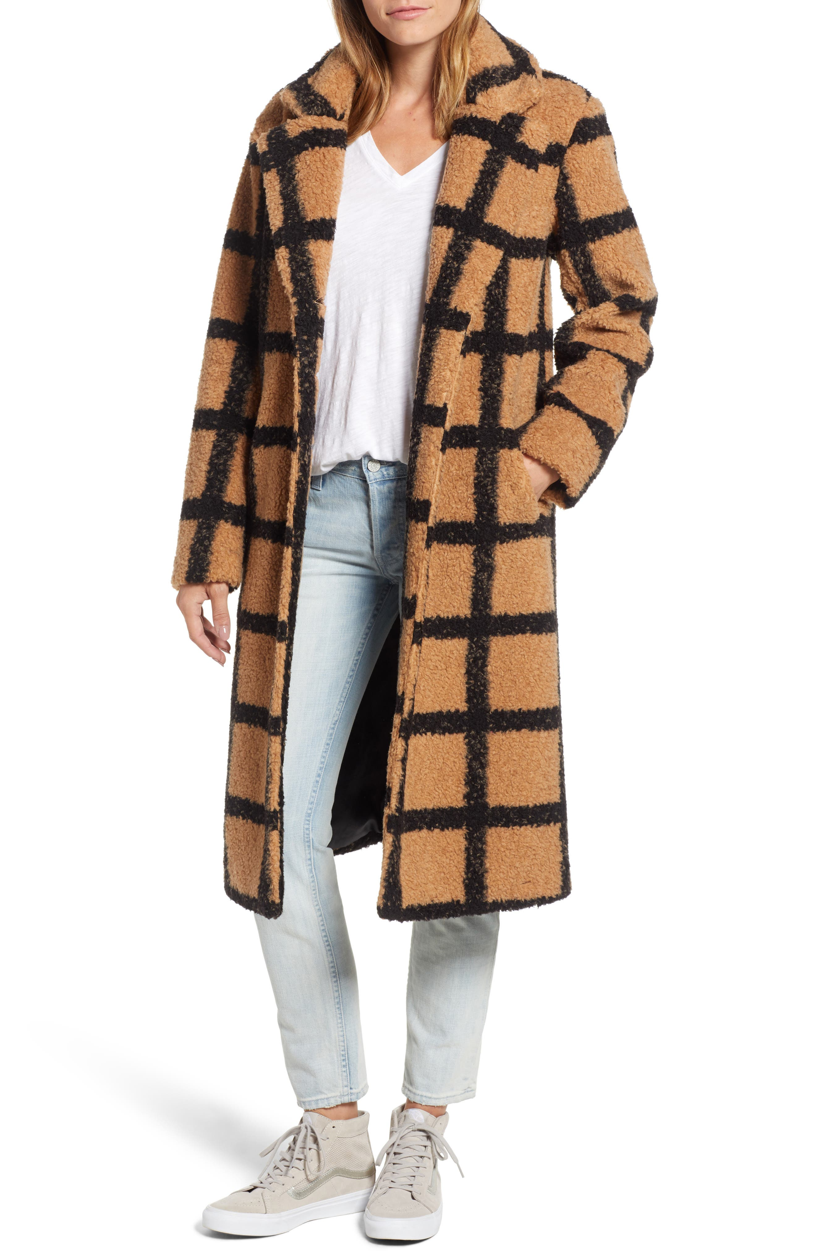 Berber Longline Plaid Coat,                             Main thumbnail 1, color,                             230