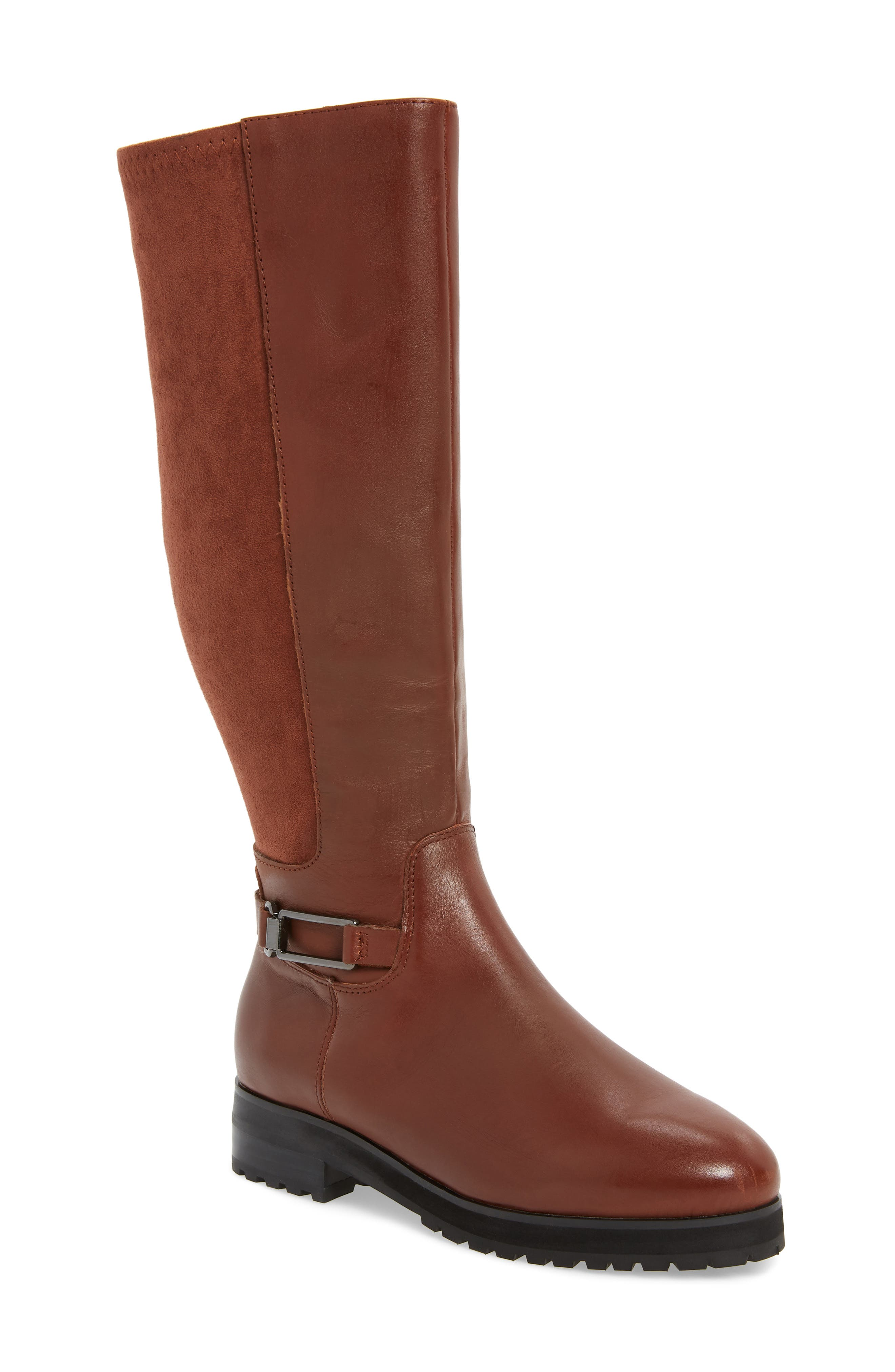 Frida Waterproof Knee High Boot,                             Main thumbnail 1, color,                             COGNAC