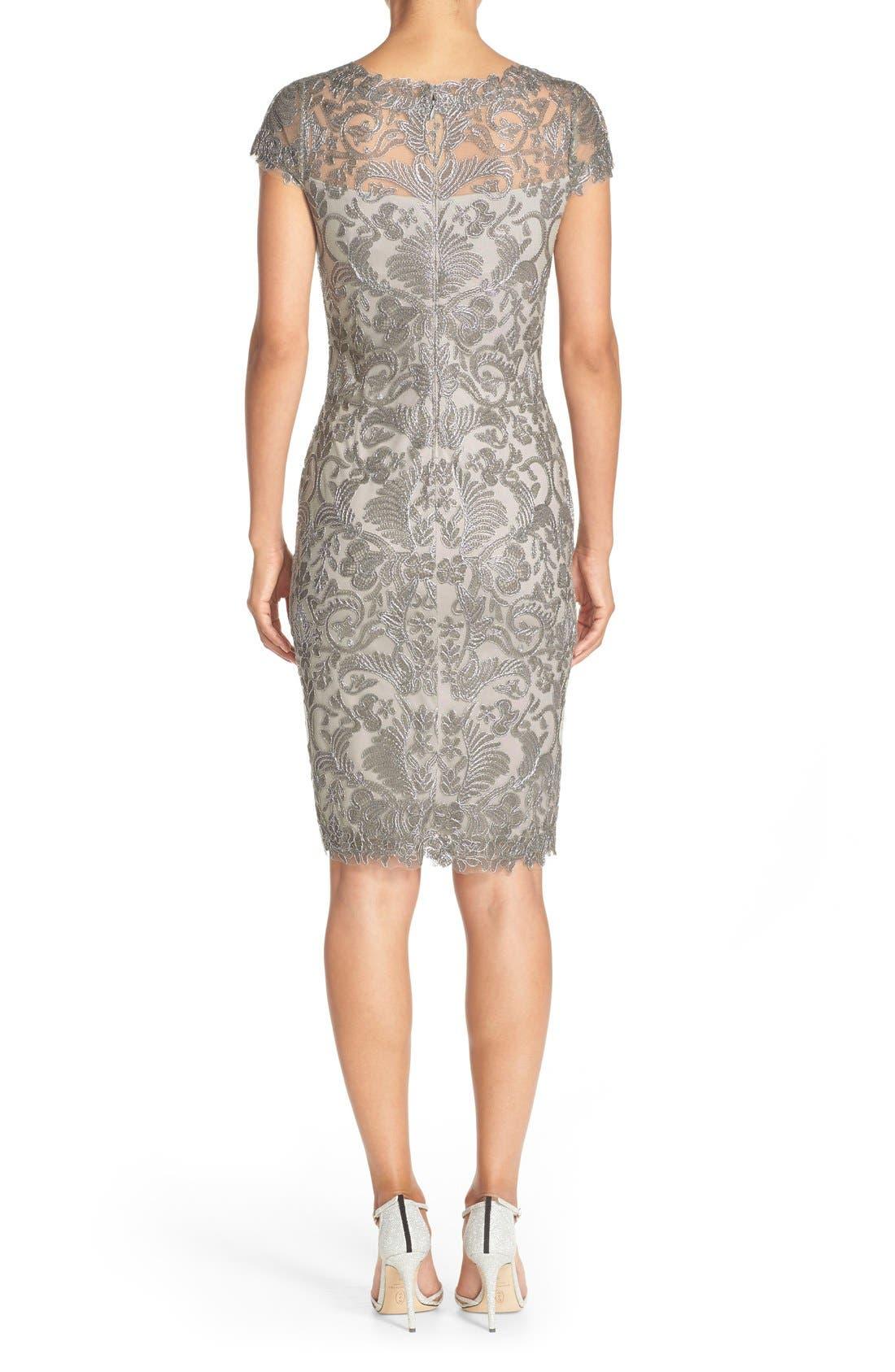 Illusion Yoke Lace Sheath Dress,                             Alternate thumbnail 27, color,