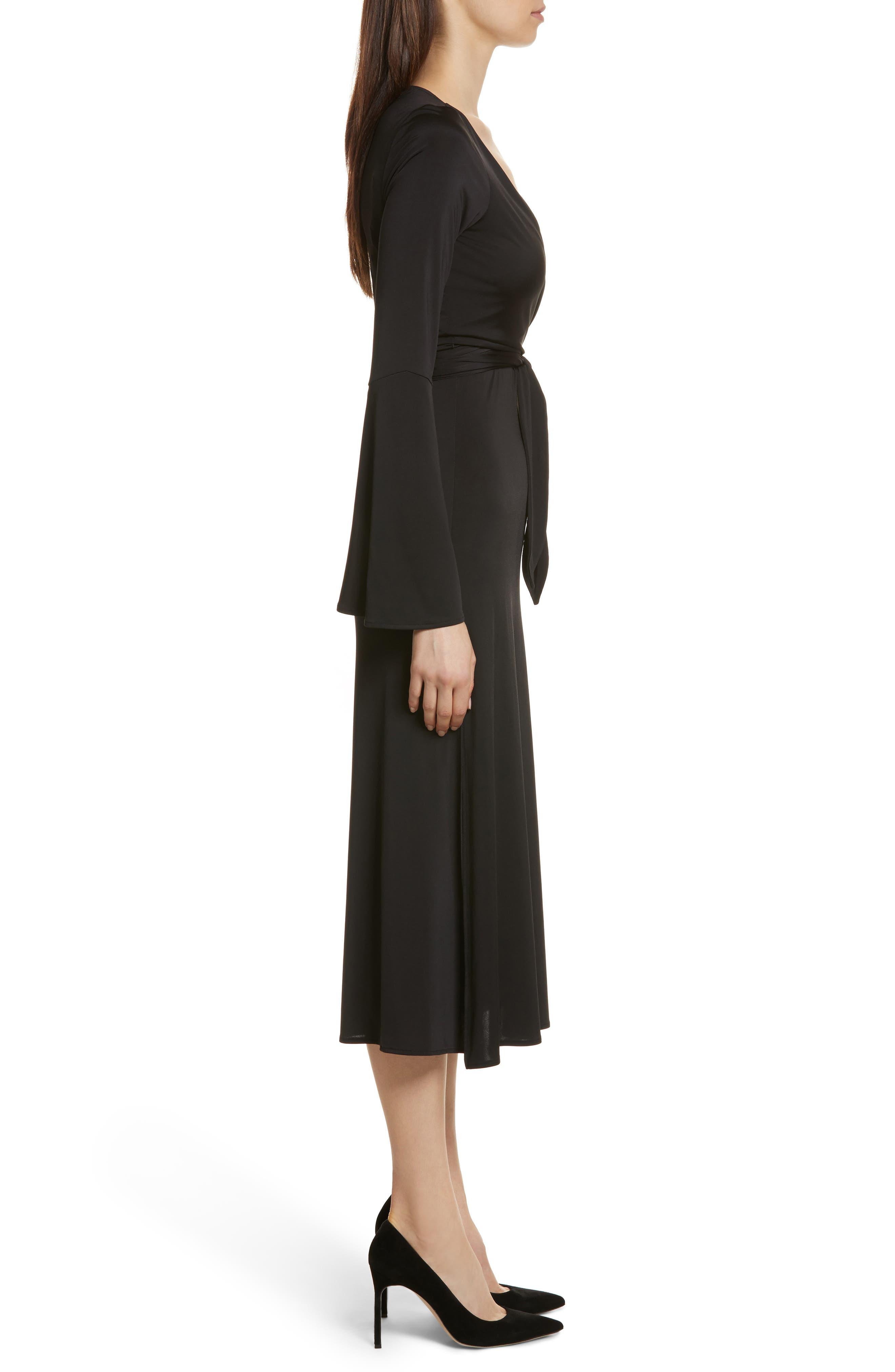 Lourdes Jersey Wrap Midi Dress,                             Alternate thumbnail 3, color,                             001