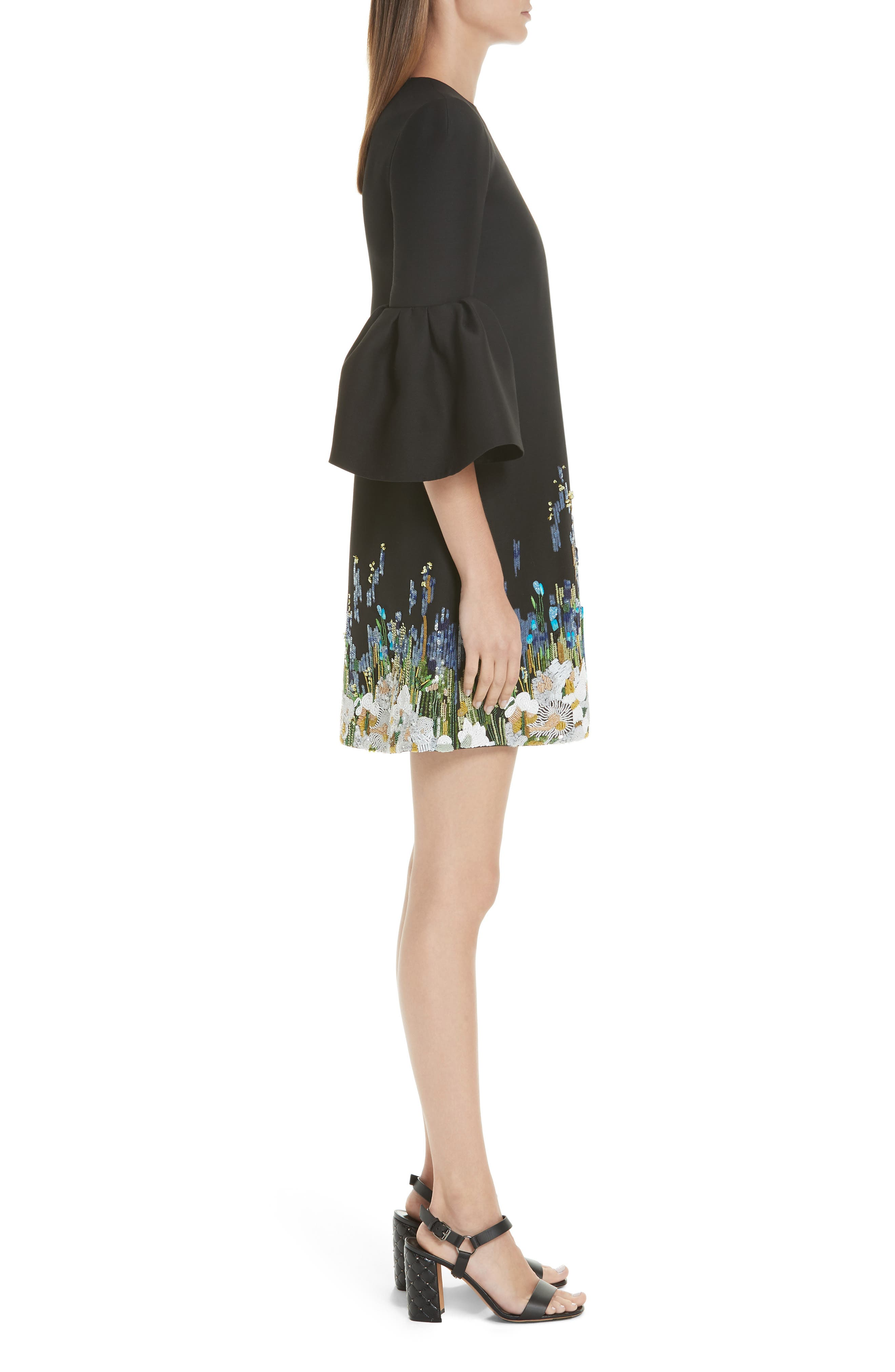 Ruffle Sleeve Floral Embroidered Dress,                             Alternate thumbnail 3, color,                             BLACK MULTI