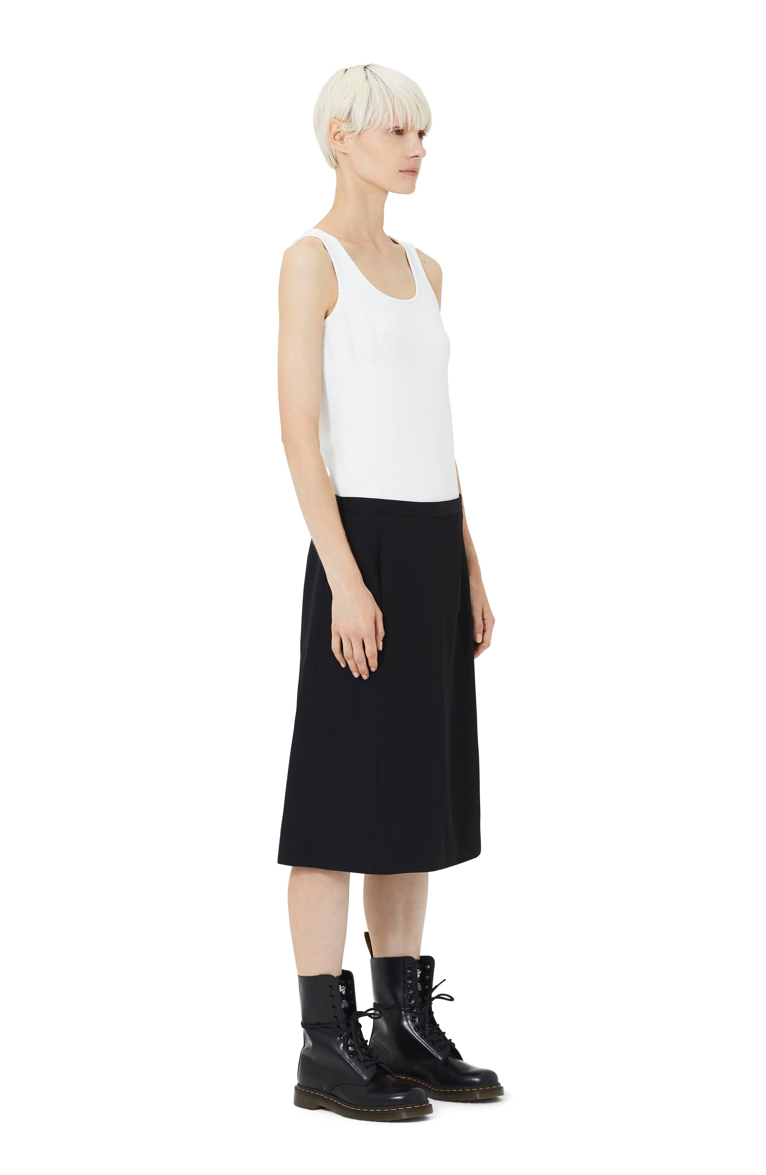 MARC JACOBS,                             Wool A-Line Skirt,                             Alternate thumbnail 5, color,                             BLACK