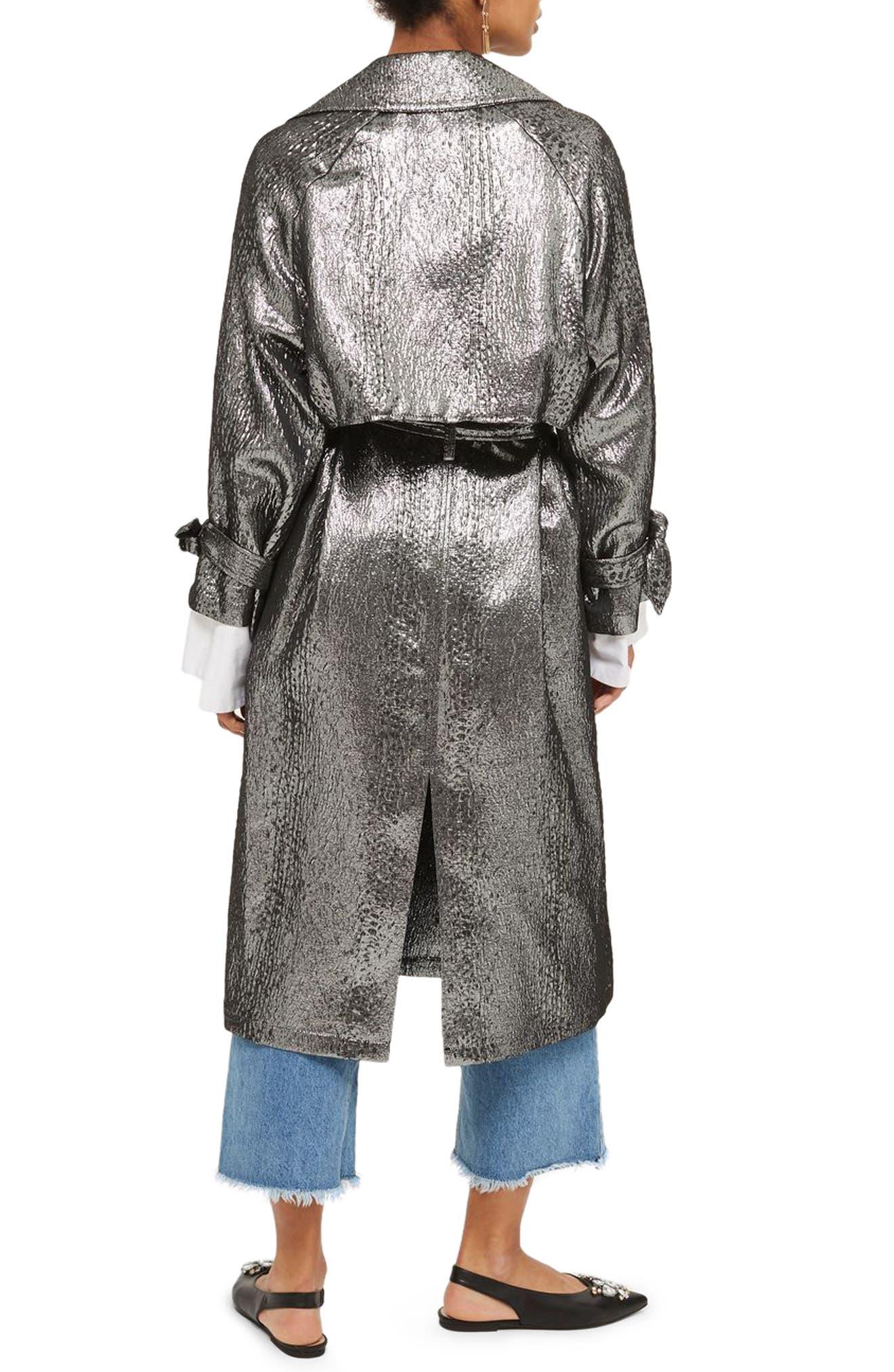 Metallic Trench Coat,                             Alternate thumbnail 2, color,                             043
