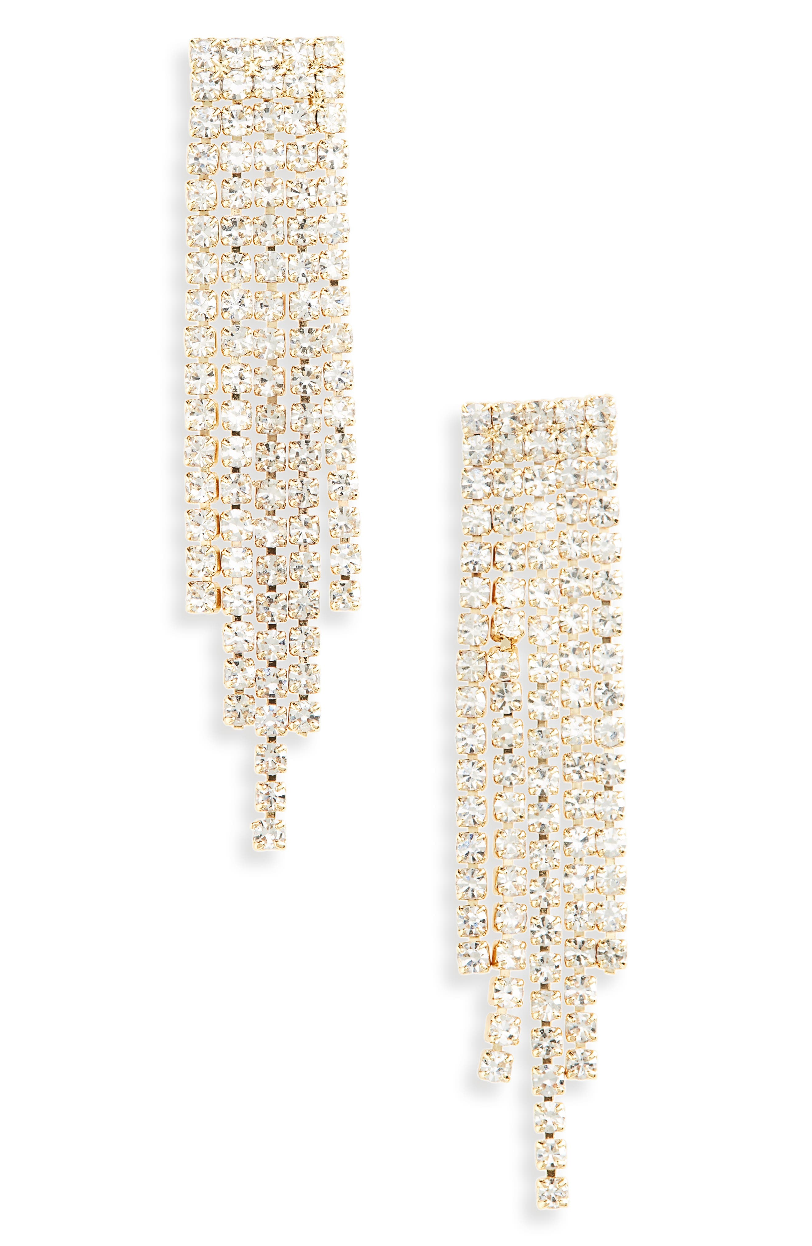 Harlow Crystal Earrings, Main, color, GOLD/ CLEAR
