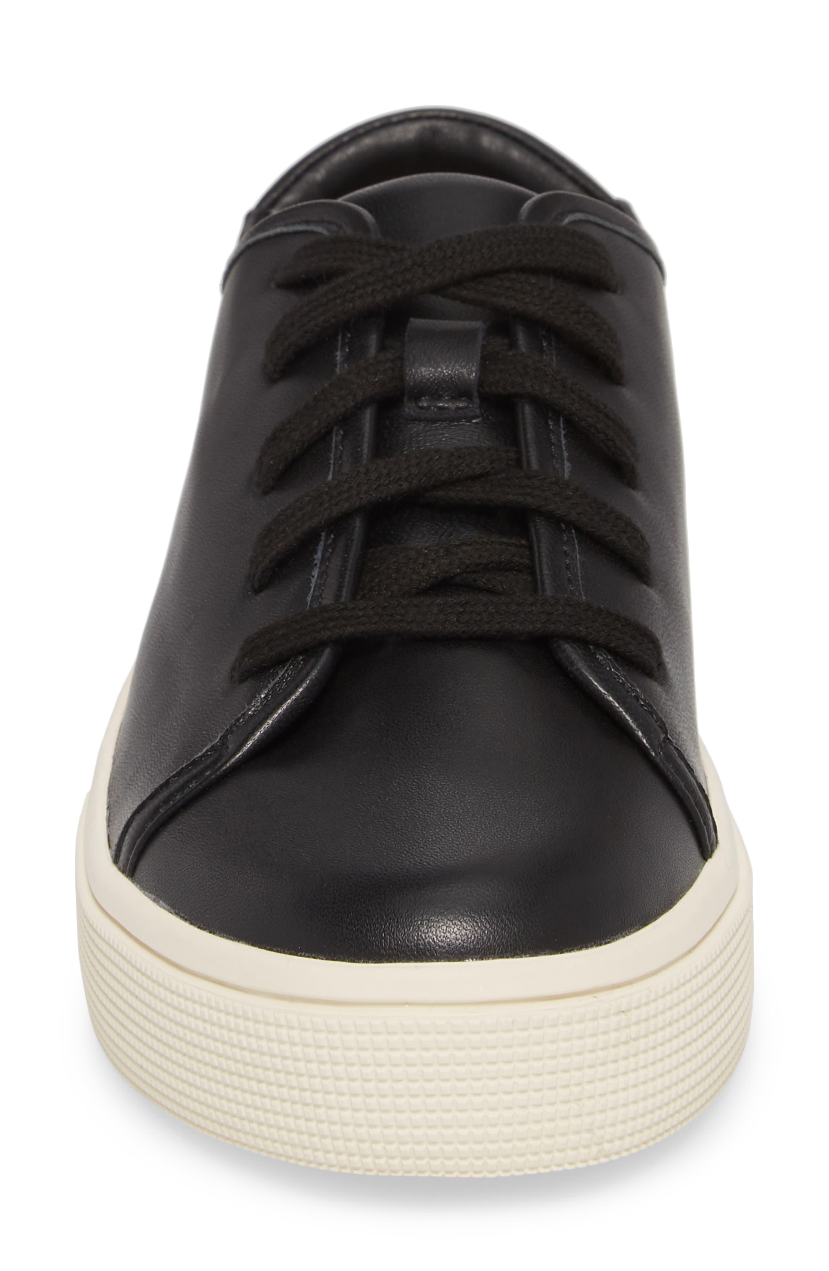 Norvin Sneaker,                             Alternate thumbnail 4, color,                             BLACK LEATHER