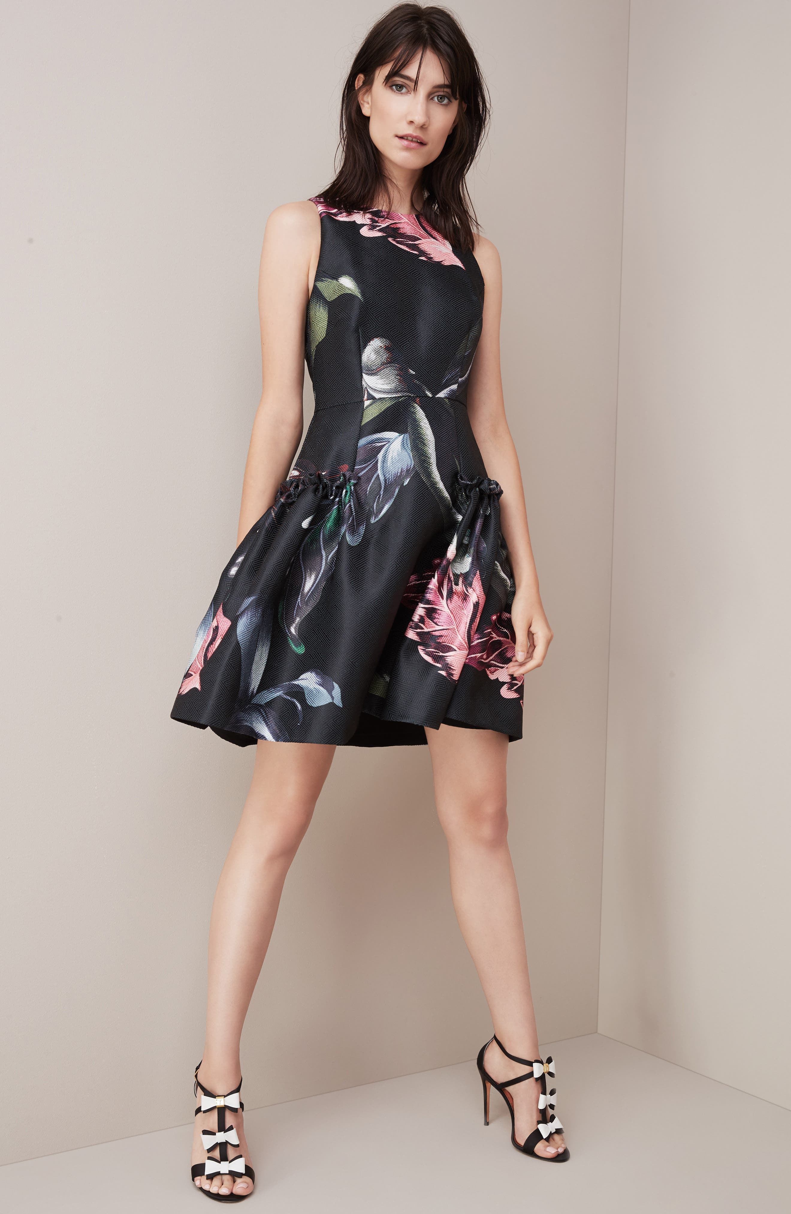 Sarahe Floral Fit & Flare Dress,                             Alternate thumbnail 7, color,                             001