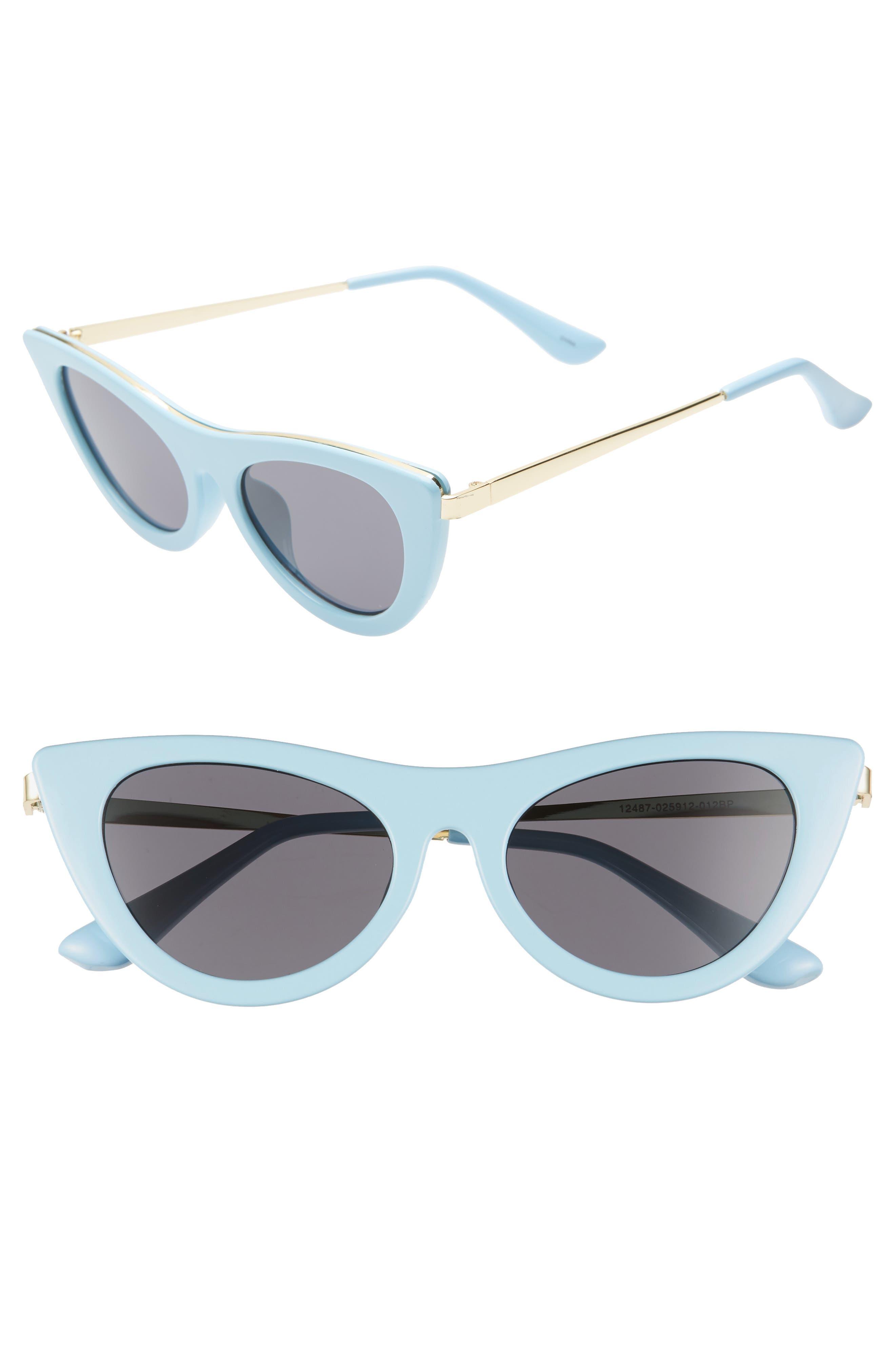 BP.,                             50mm Cat Eye Sunglasses,                             Main thumbnail 1, color,                             GOLD/ BLUE