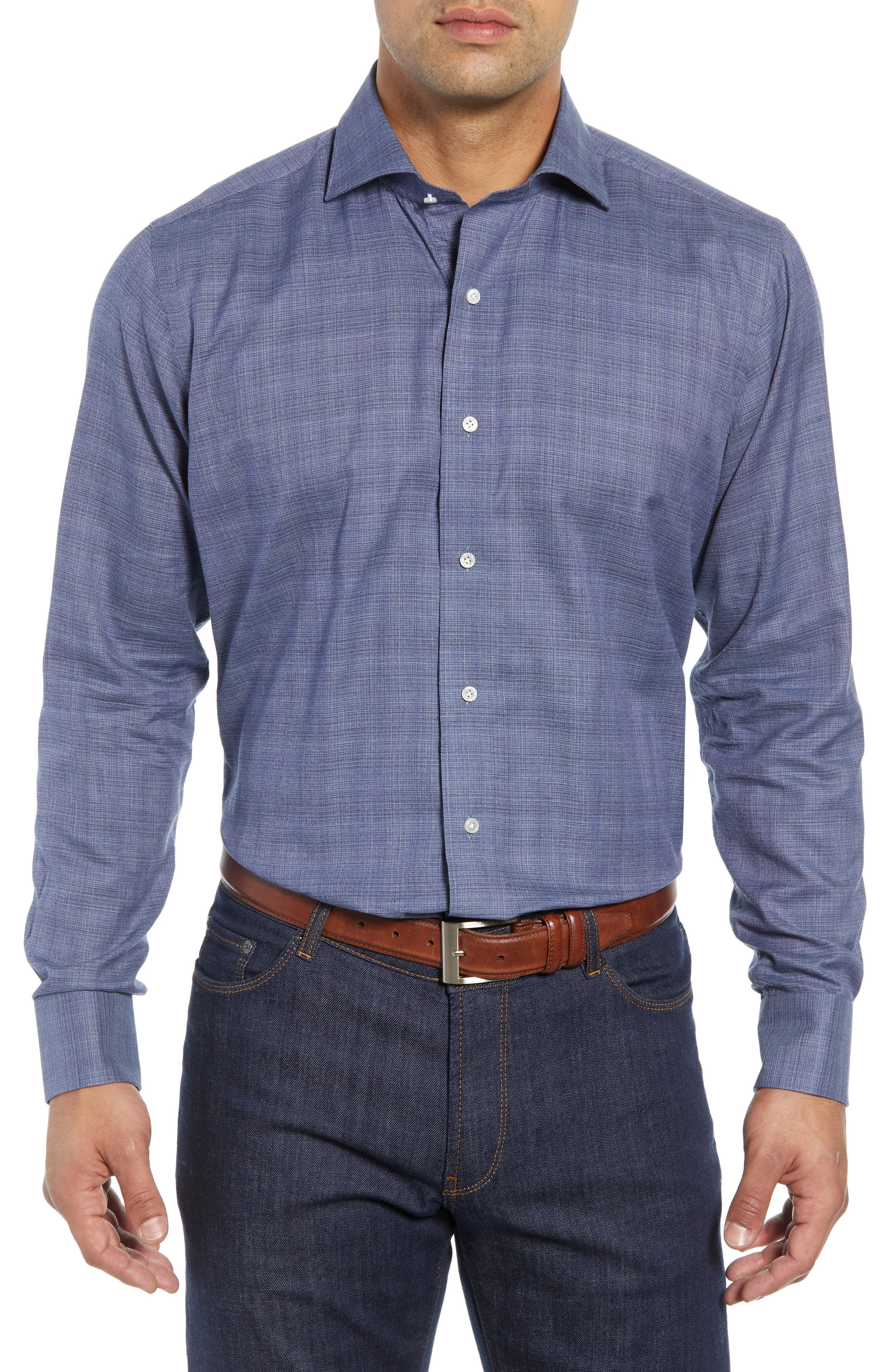 Starlight Regular Fit Chambray Sport Shirt,                         Main,                         color, 417