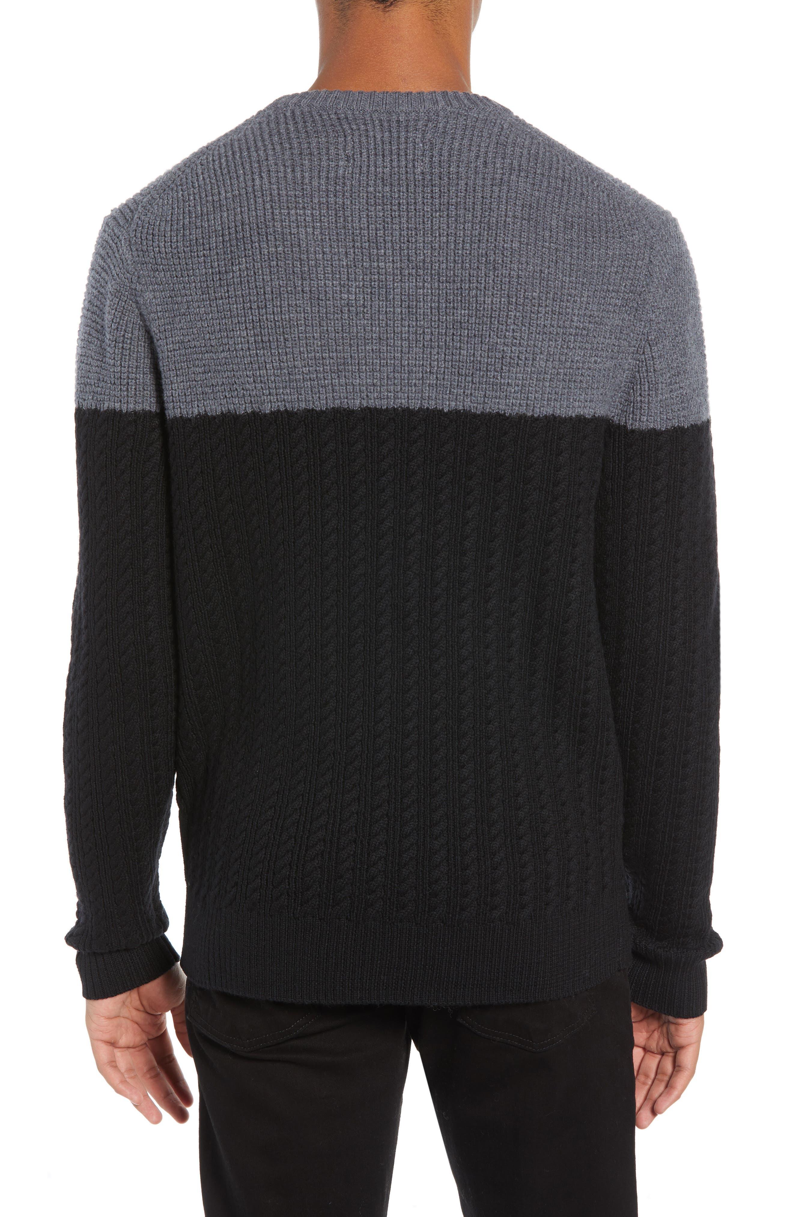 Block Merino Wool Cable Knit Sweater,                             Alternate thumbnail 2, color,                             BLACK CAVIAR COLORBLOCK