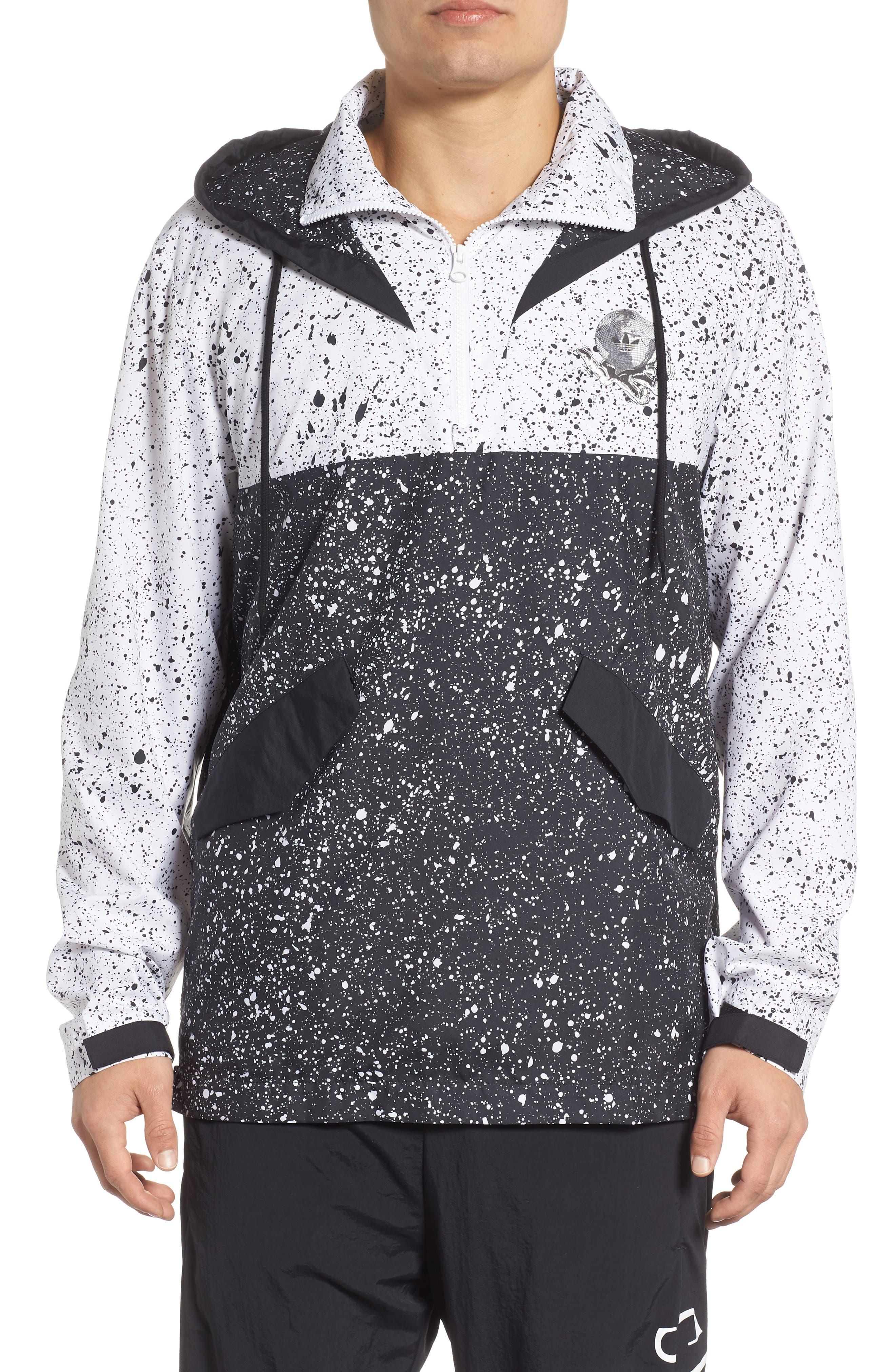 adidas Planetoid Windbreaker,                         Main,                         color, BLACK/ WHITE