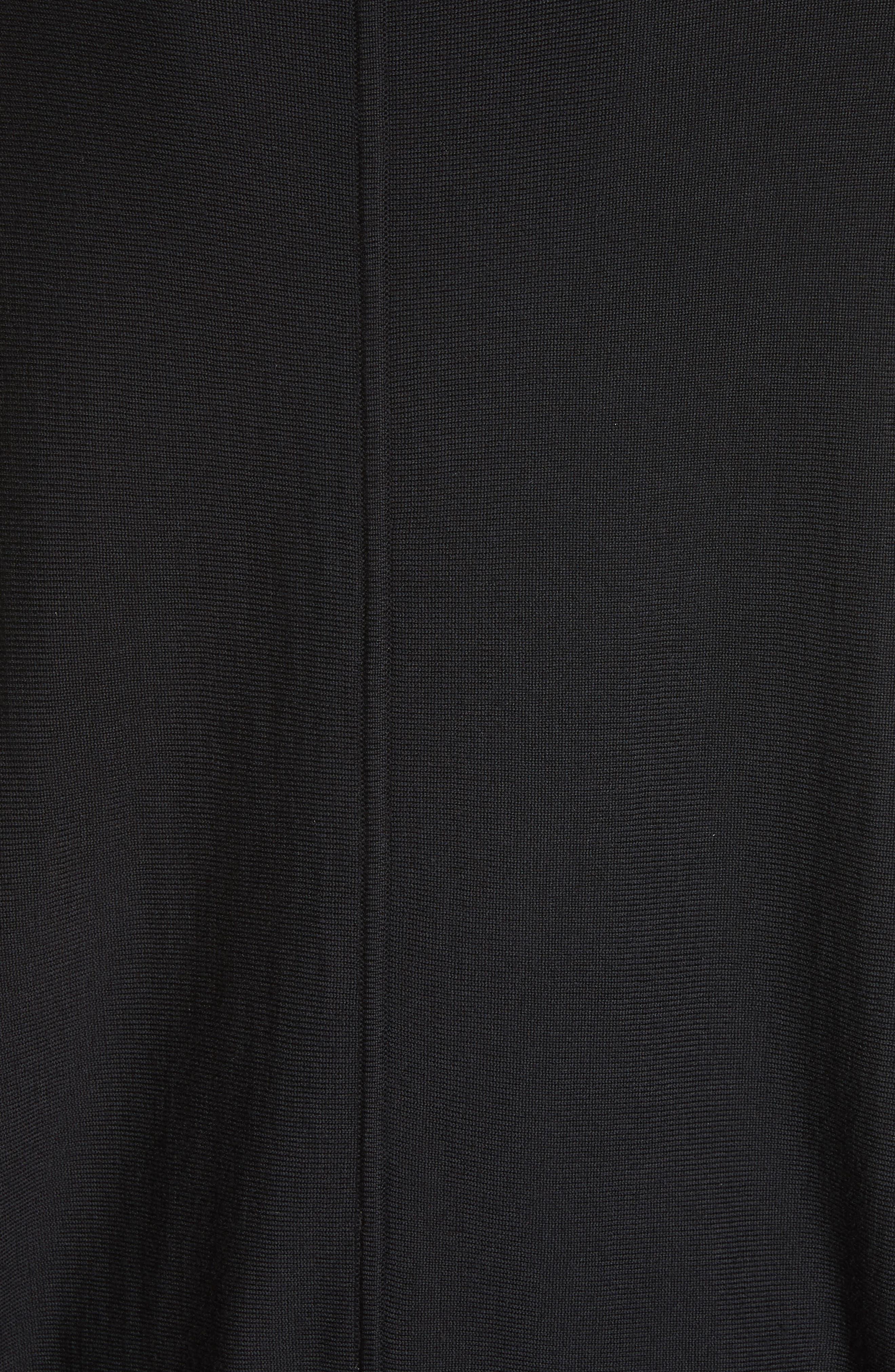 Rib Knit Poncho Sweater,                             Alternate thumbnail 5, color,                             001