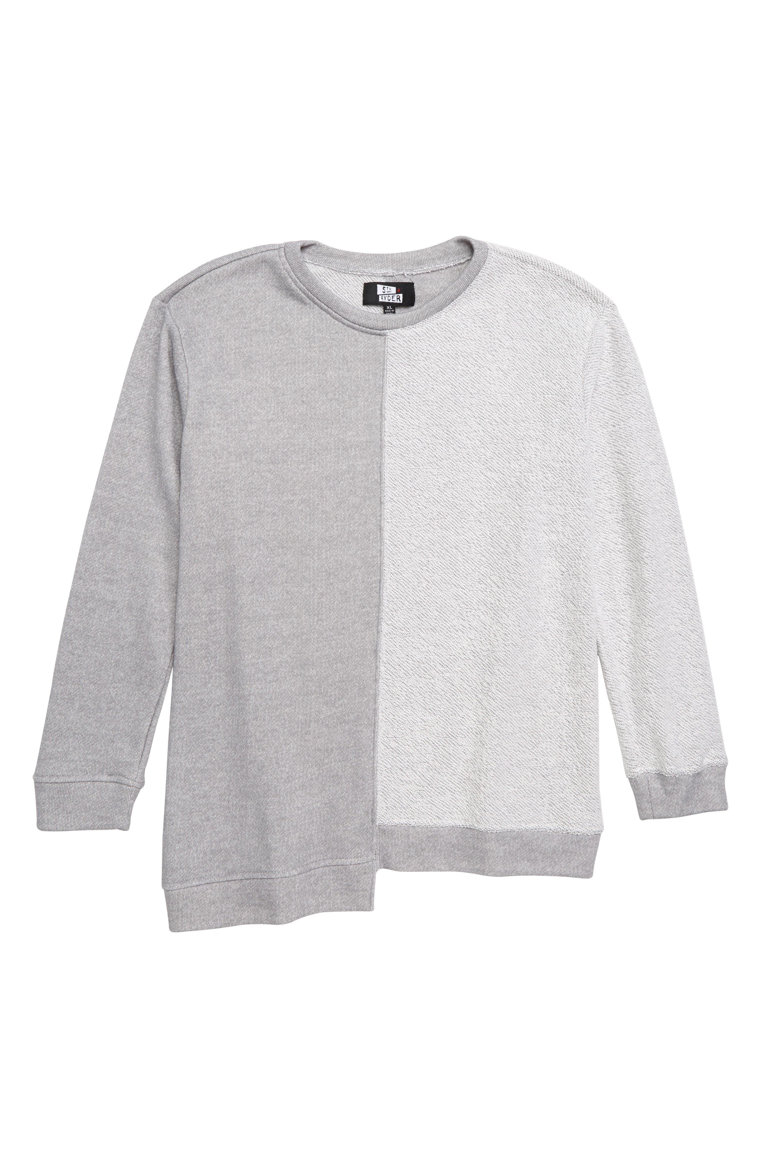 Elwood Splices Oversize Sweatshirt,                             Main thumbnail 1, color,                             HEATHER GREY