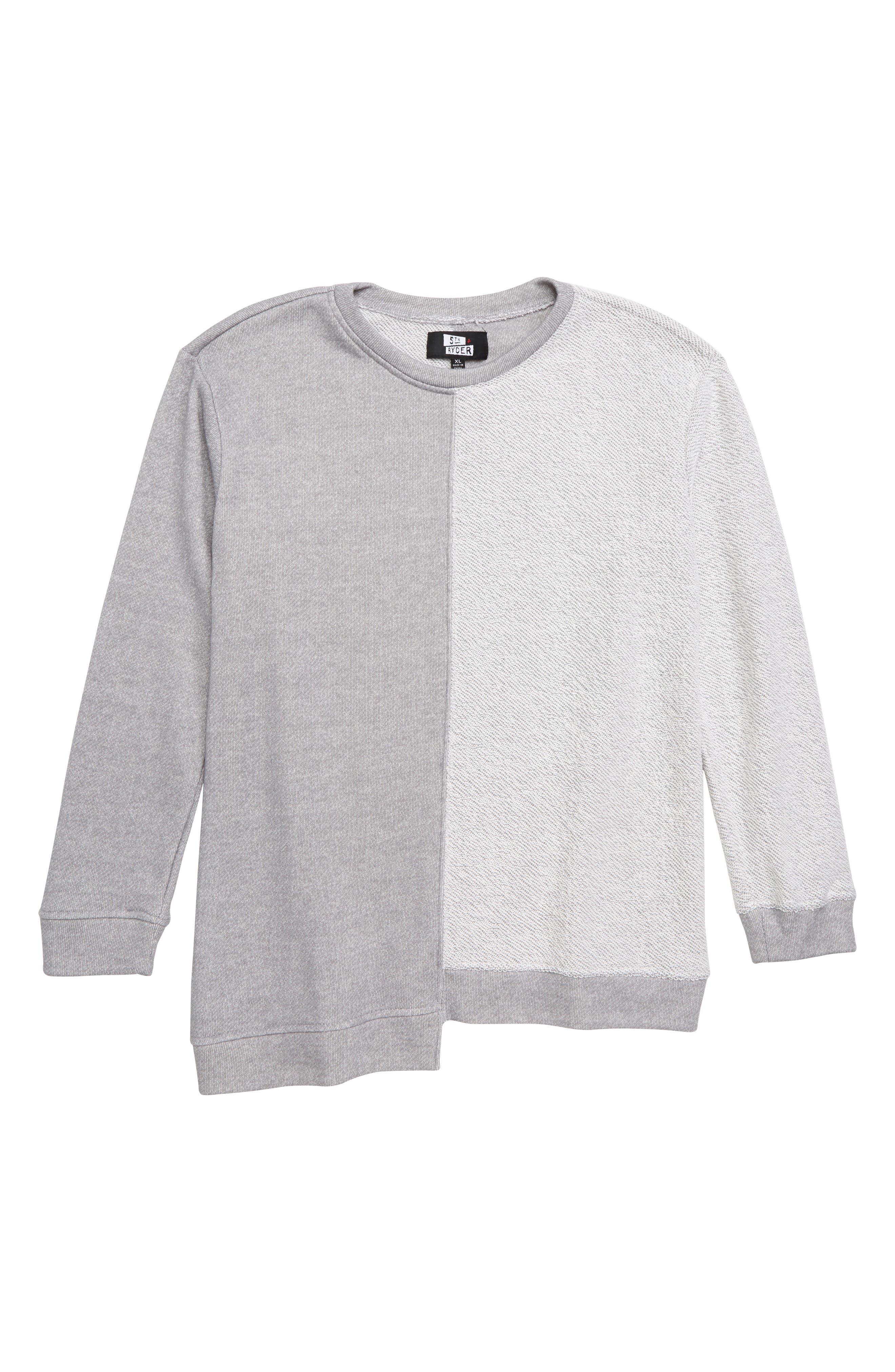Elwood Splices Oversize Sweatshirt,                         Main,                         color, HEATHER GREY
