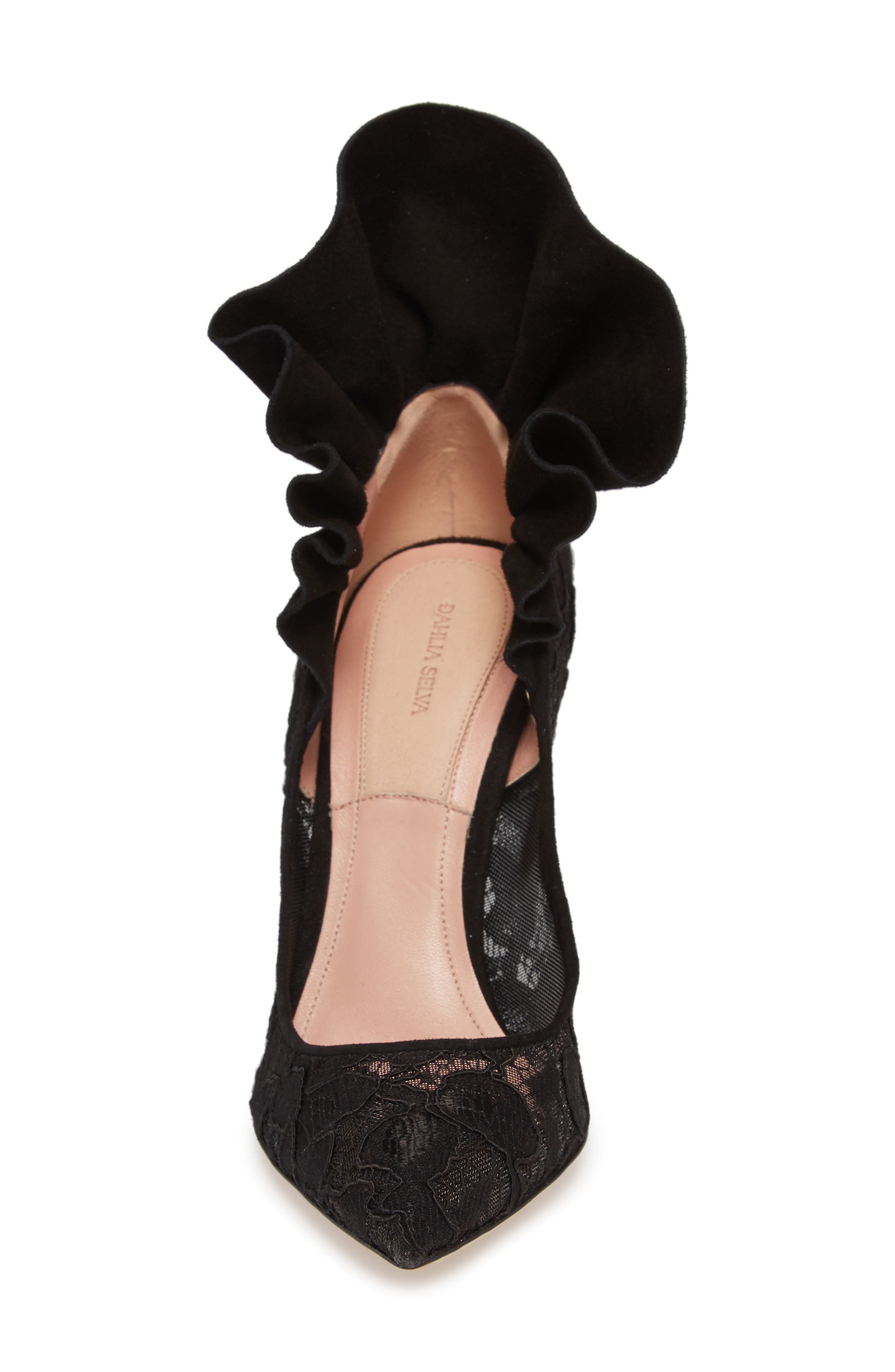 Frills For All Pointy Toe Pump,                             Alternate thumbnail 4, color,                             BLACK