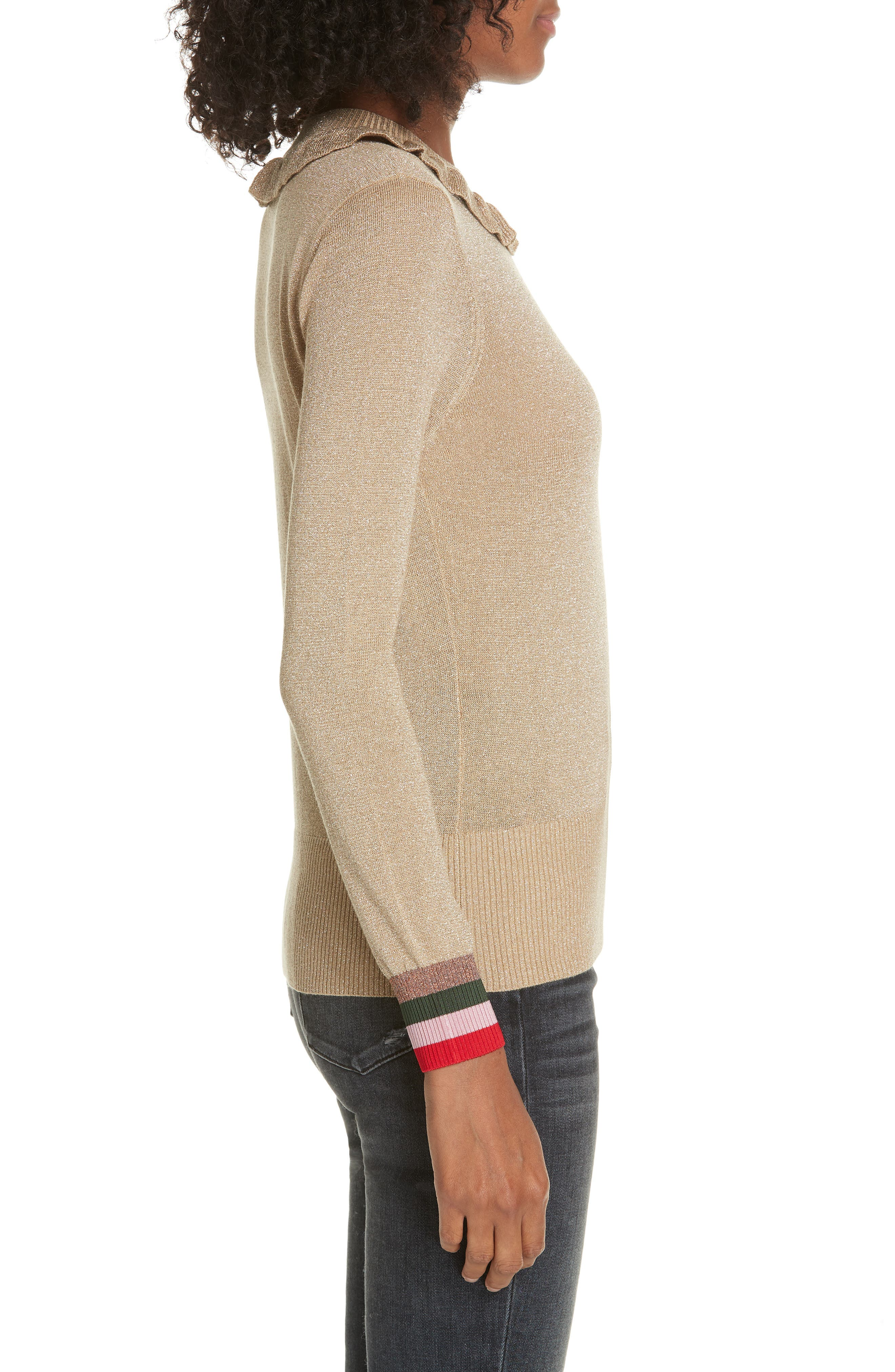 Colour by Numbers Hawen Metallic Knit Sweater,                             Alternate thumbnail 3, color,                             GOLD