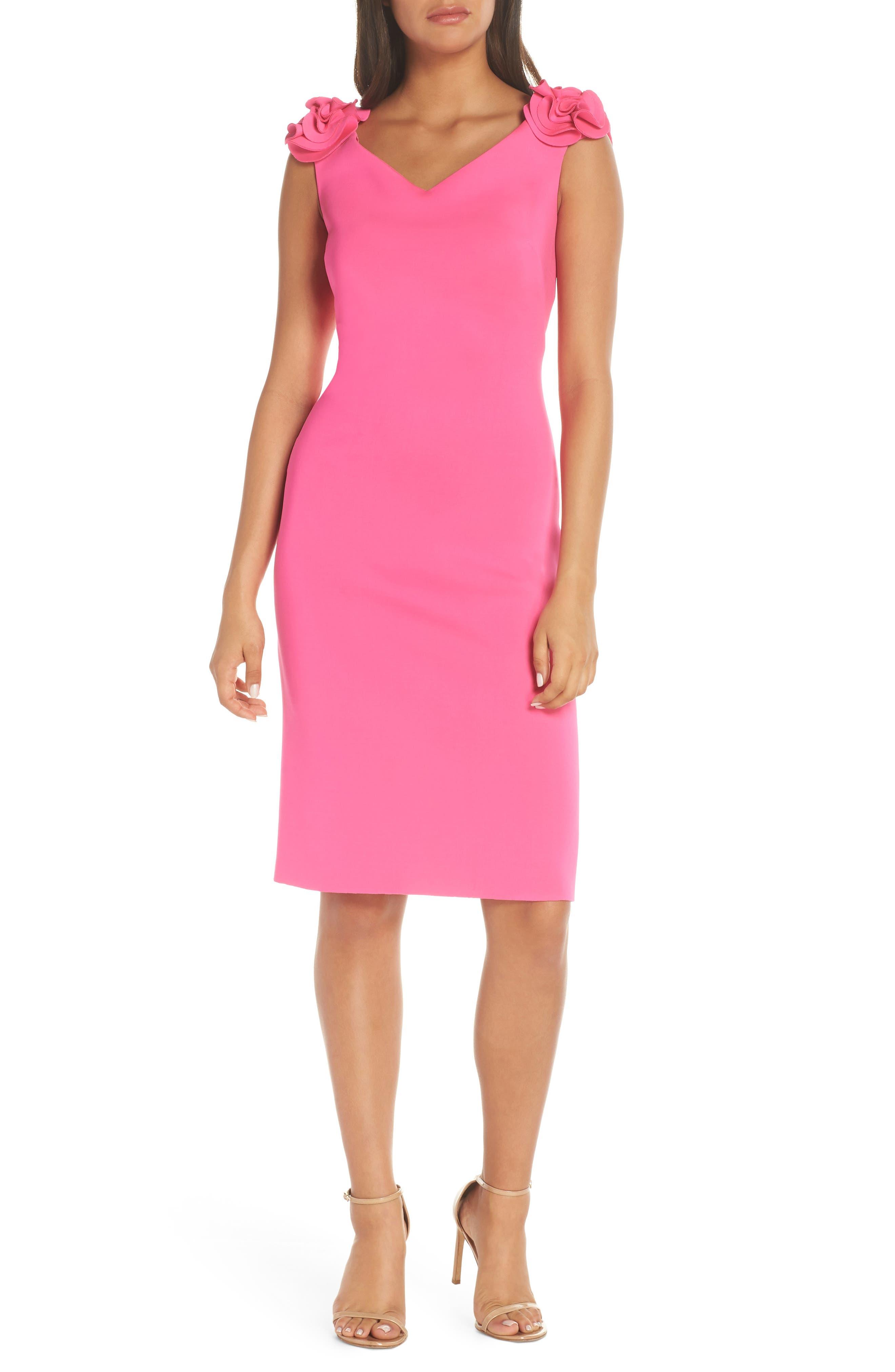 Eliza J Rosette Sheath Dress, Pink
