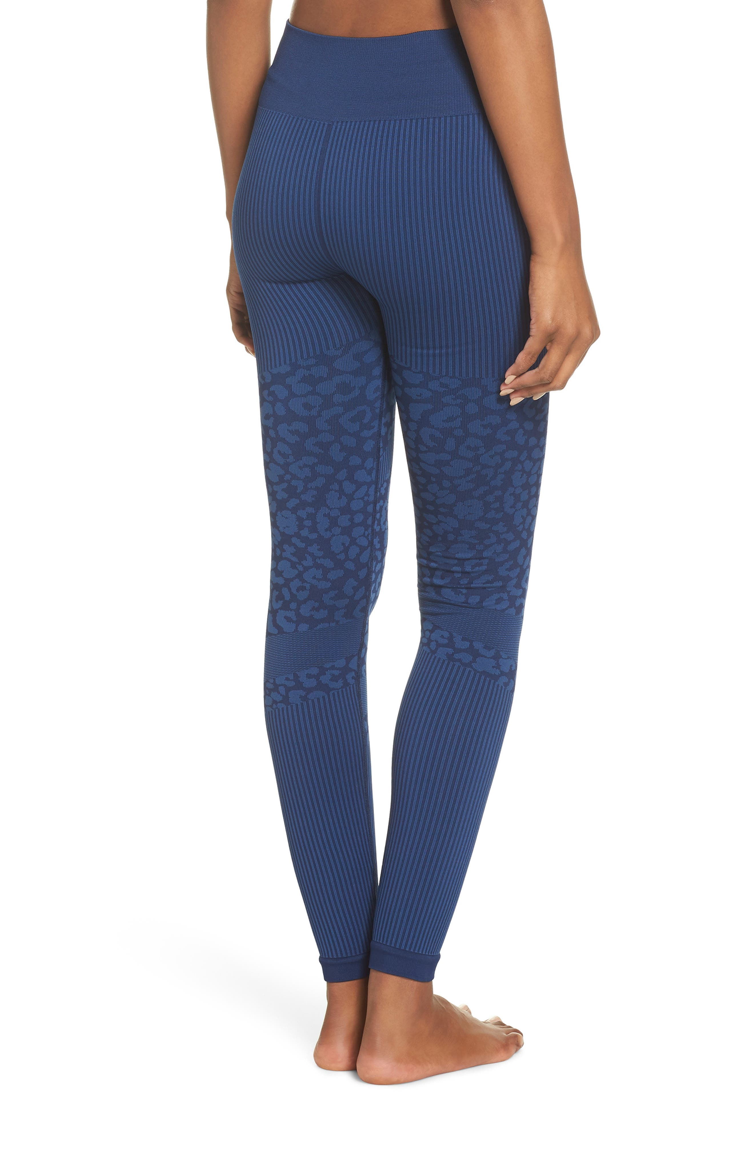Quincy Seamless Leggings,                             Alternate thumbnail 2, color,                             NAVY LEOPARD
