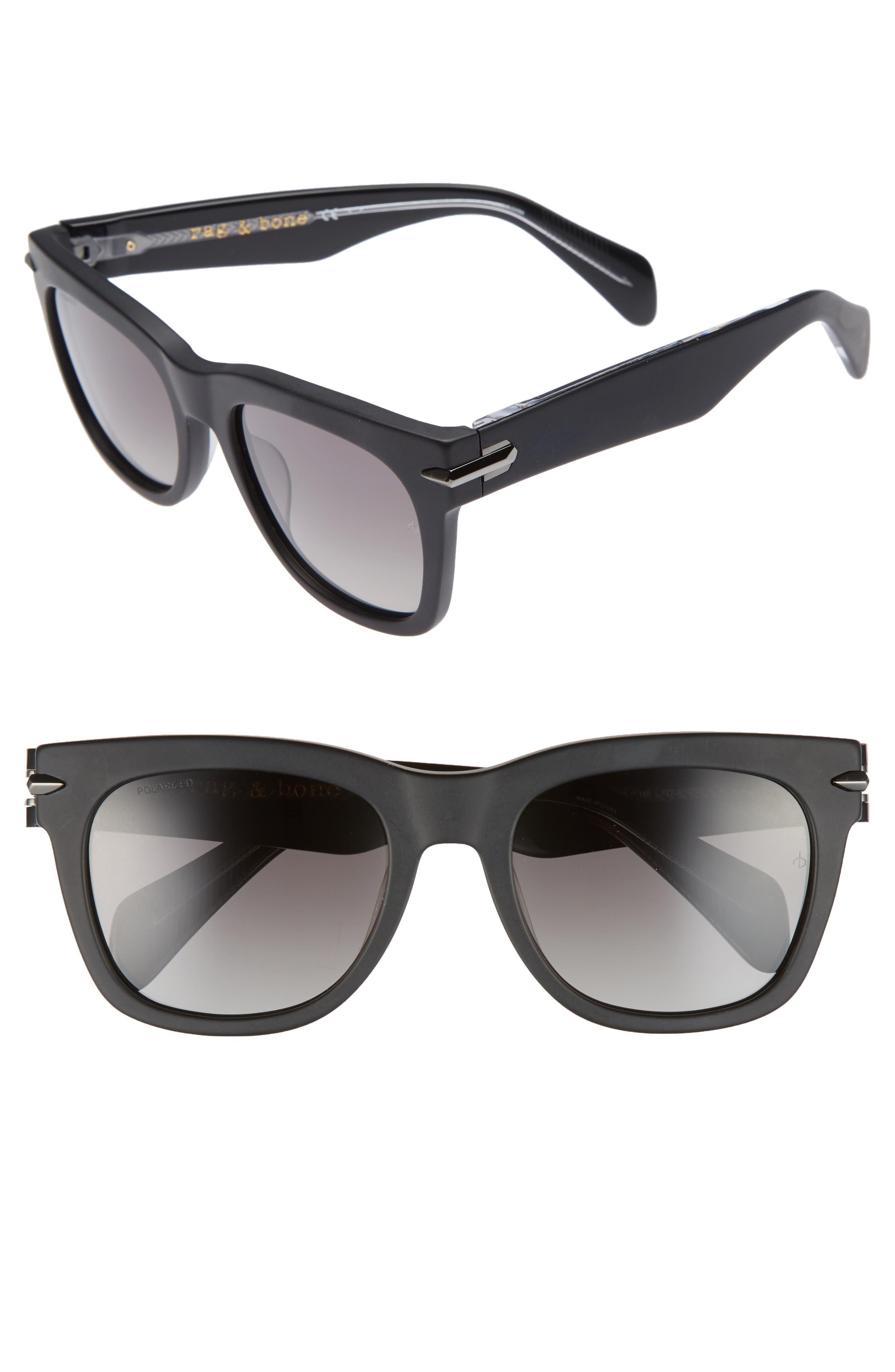 54mm Polarized Sunglasses,                         Main,                         color, MATTE BLACK/ POLAR