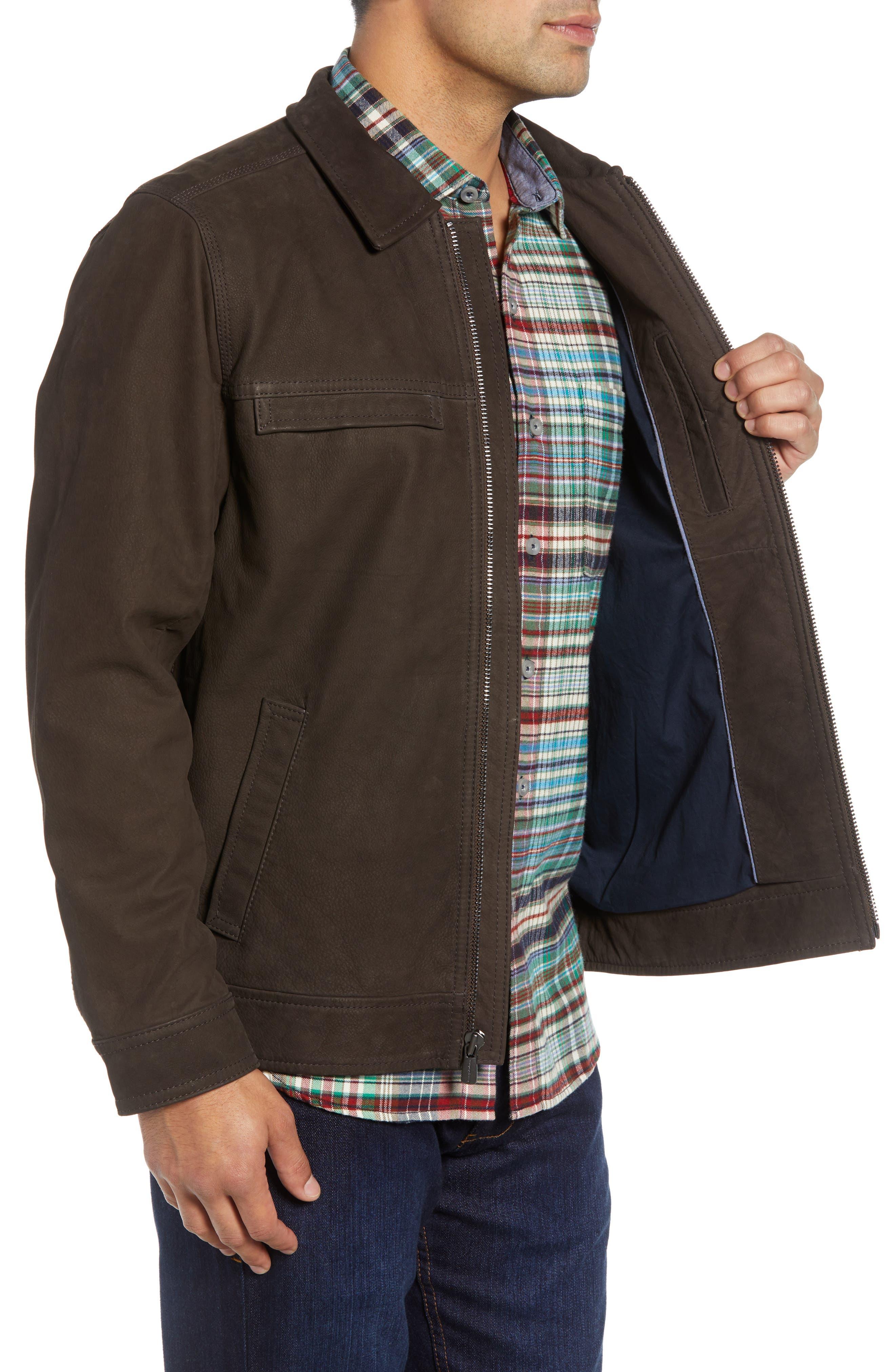 Elliott Bay Leather Jacket,                             Alternate thumbnail 3, color,                             COFFEE