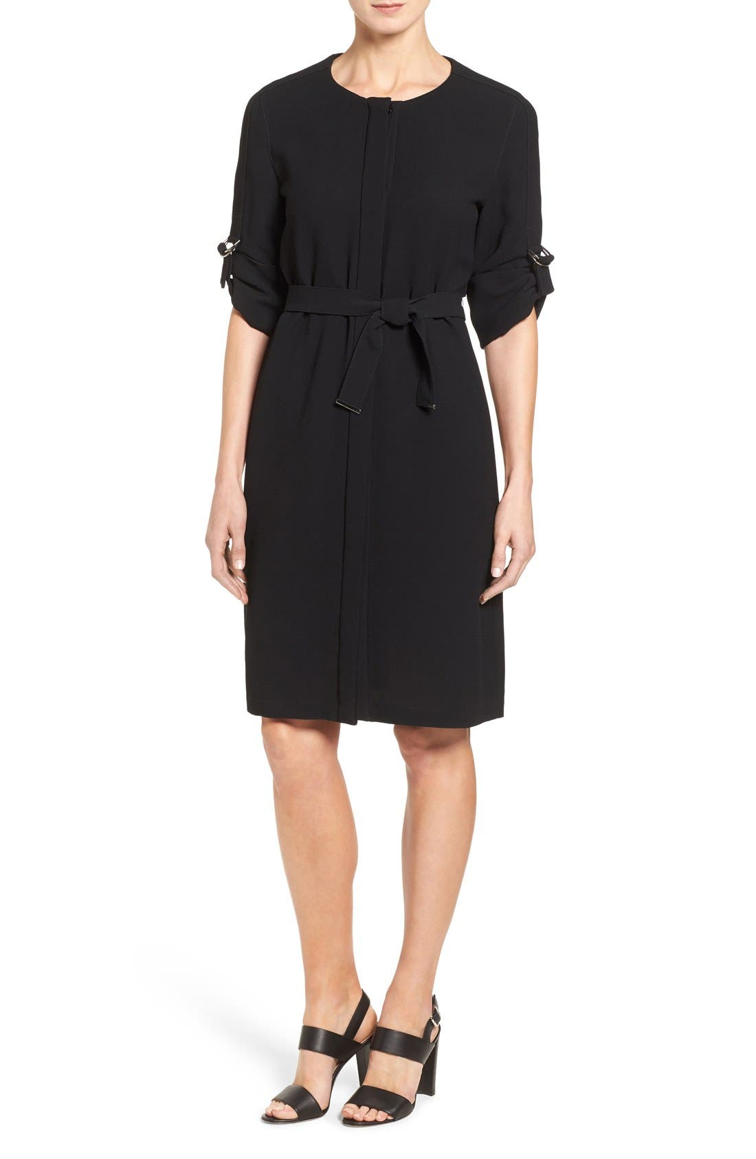 'Hamika' Belted Roll Sleeve Shirtdress, Main, color, 001