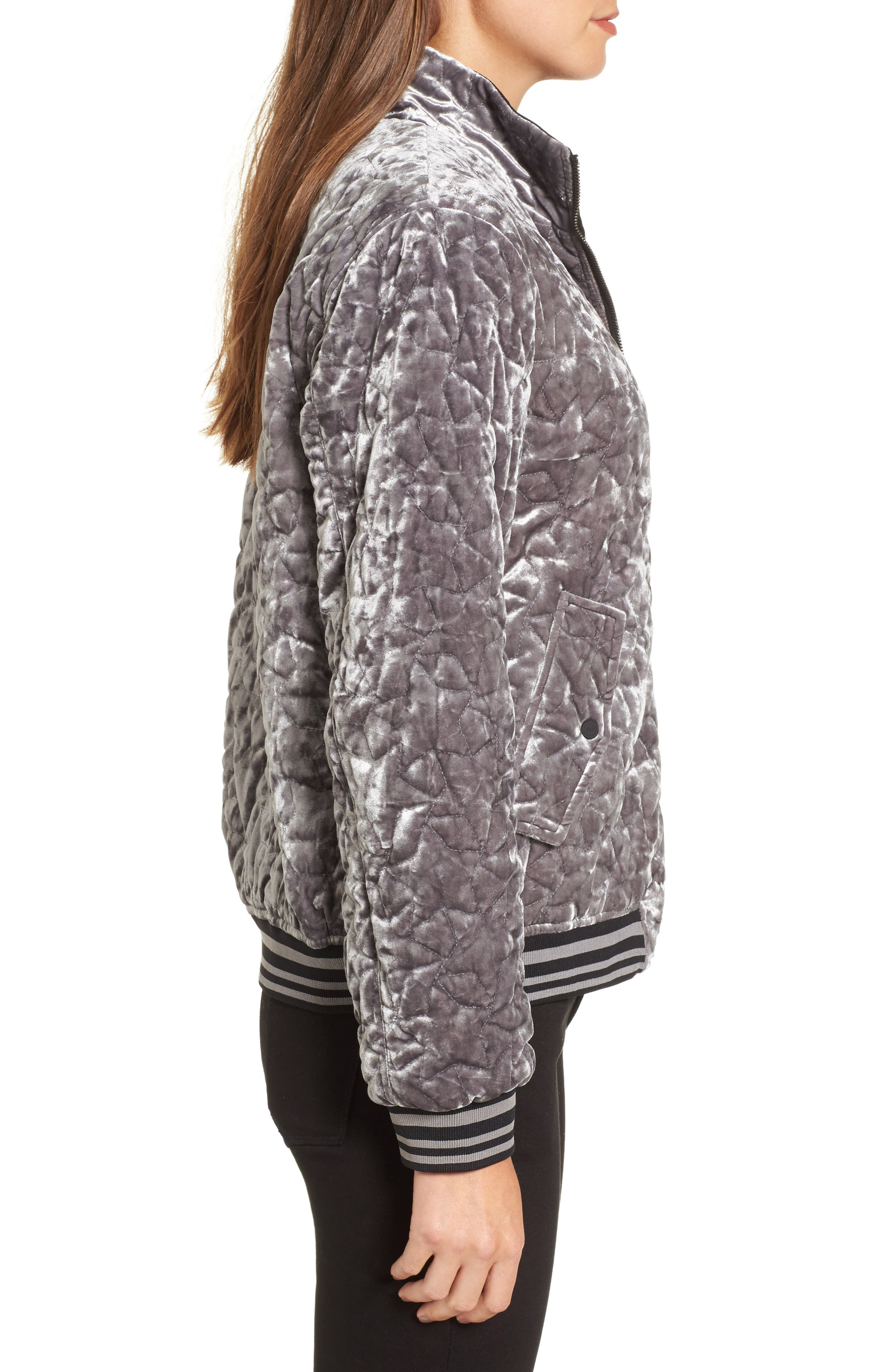 Quilted Velvet Bomber Jacket,                             Alternate thumbnail 3, color,                             049