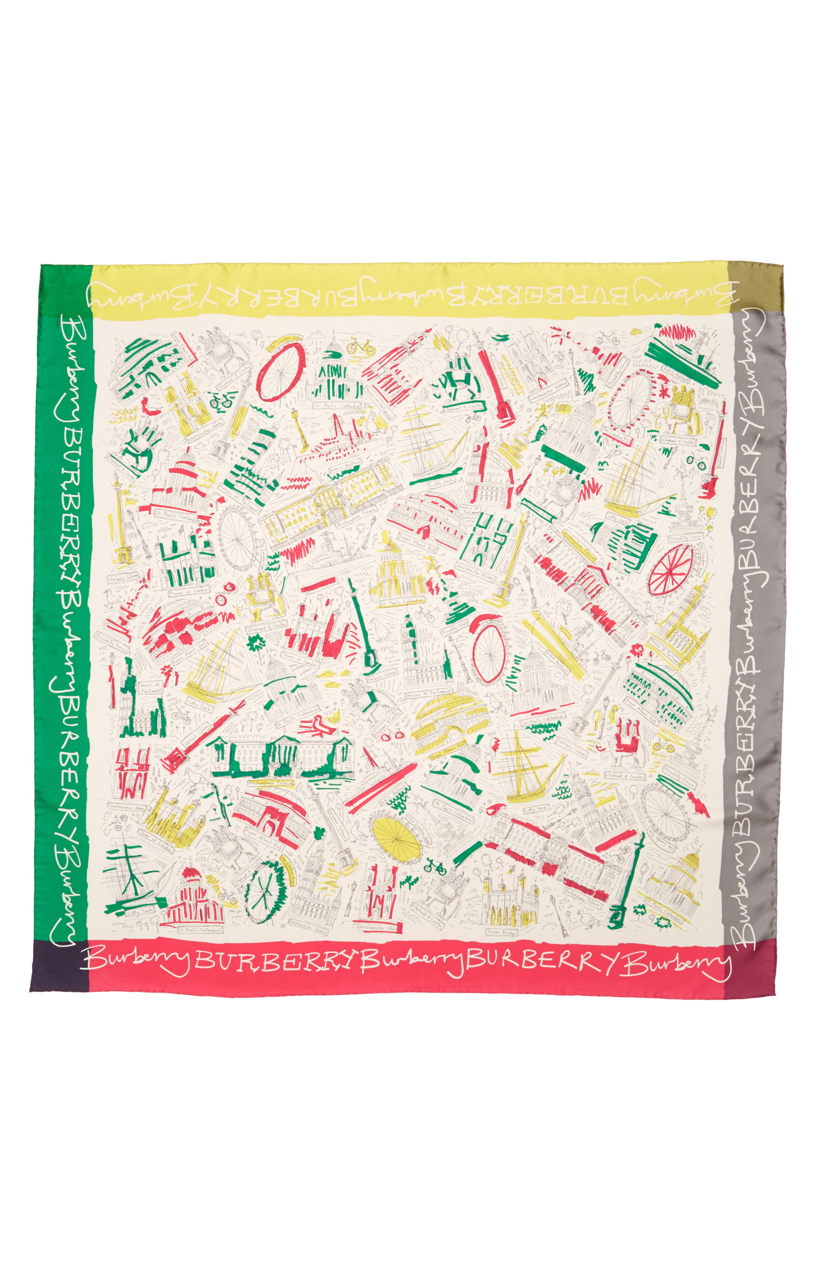 London Icon Silk Square Scarf,                             Main thumbnail 1, color,                             650