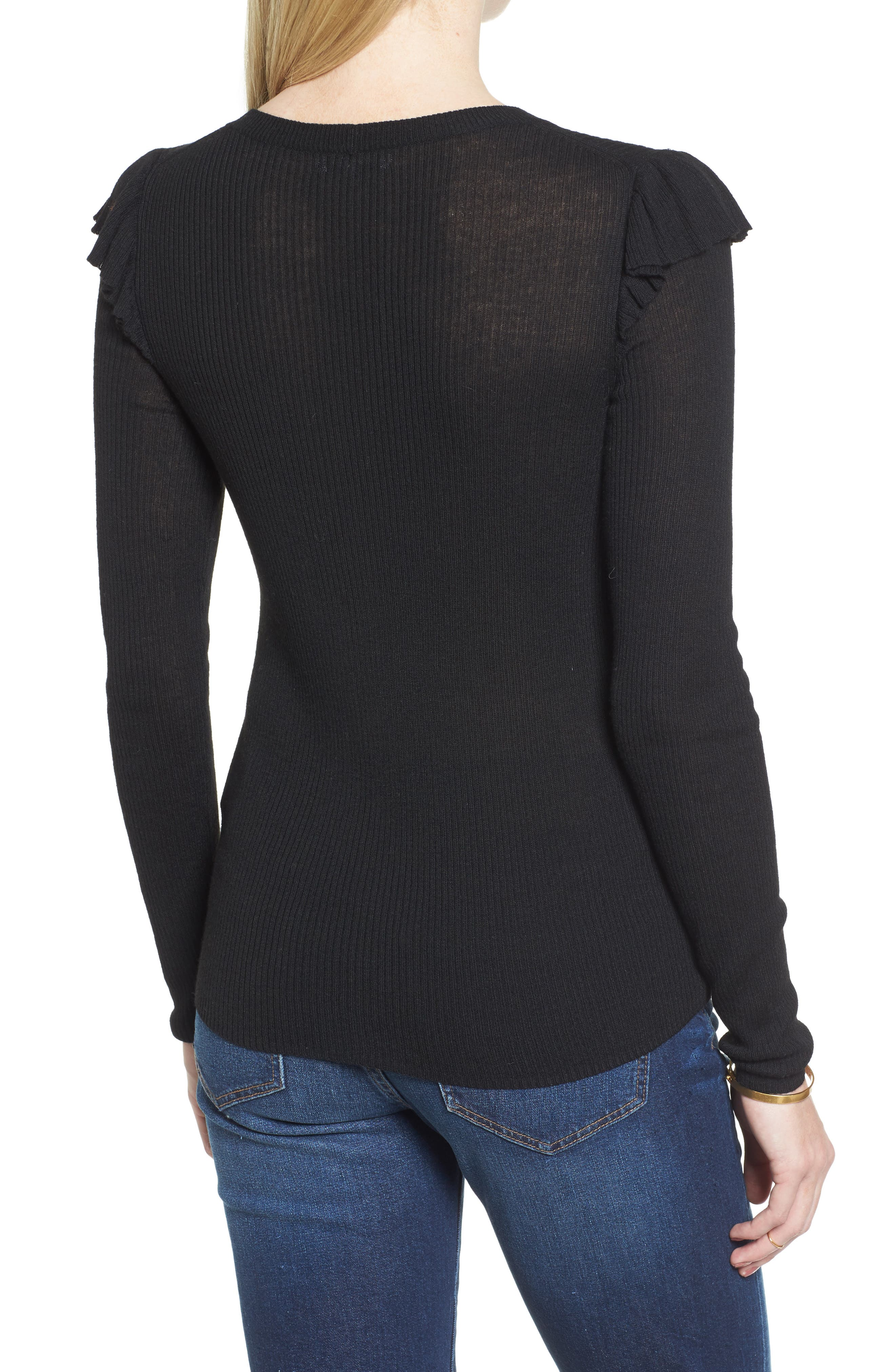 Ruffle Sleeve Pullover Sweater,                             Alternate thumbnail 3, color,
