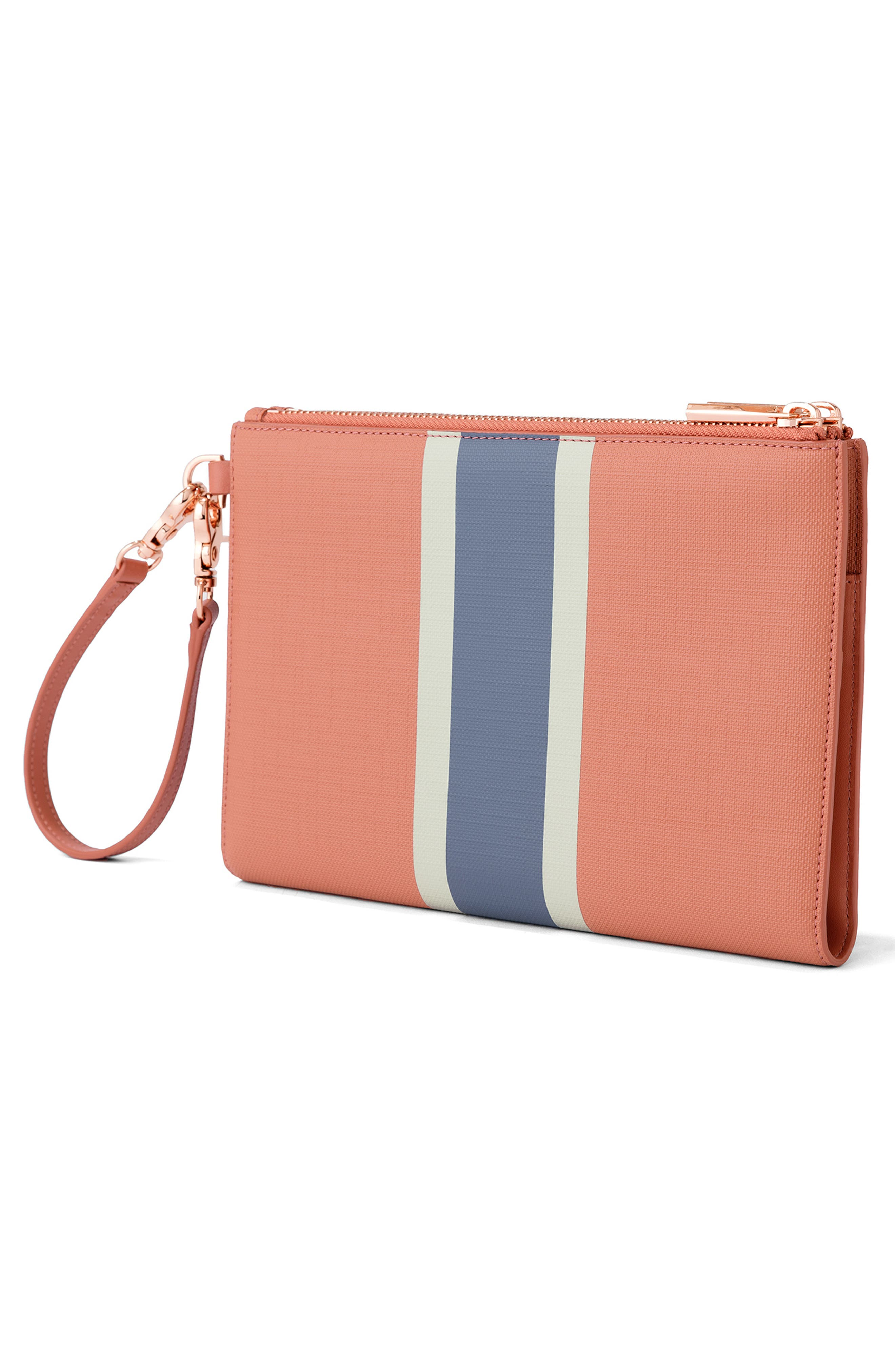 Signature Essentials Coated Canvas Clutch/Wallet,                             Alternate thumbnail 4, color,                             SIENNA STRIPE