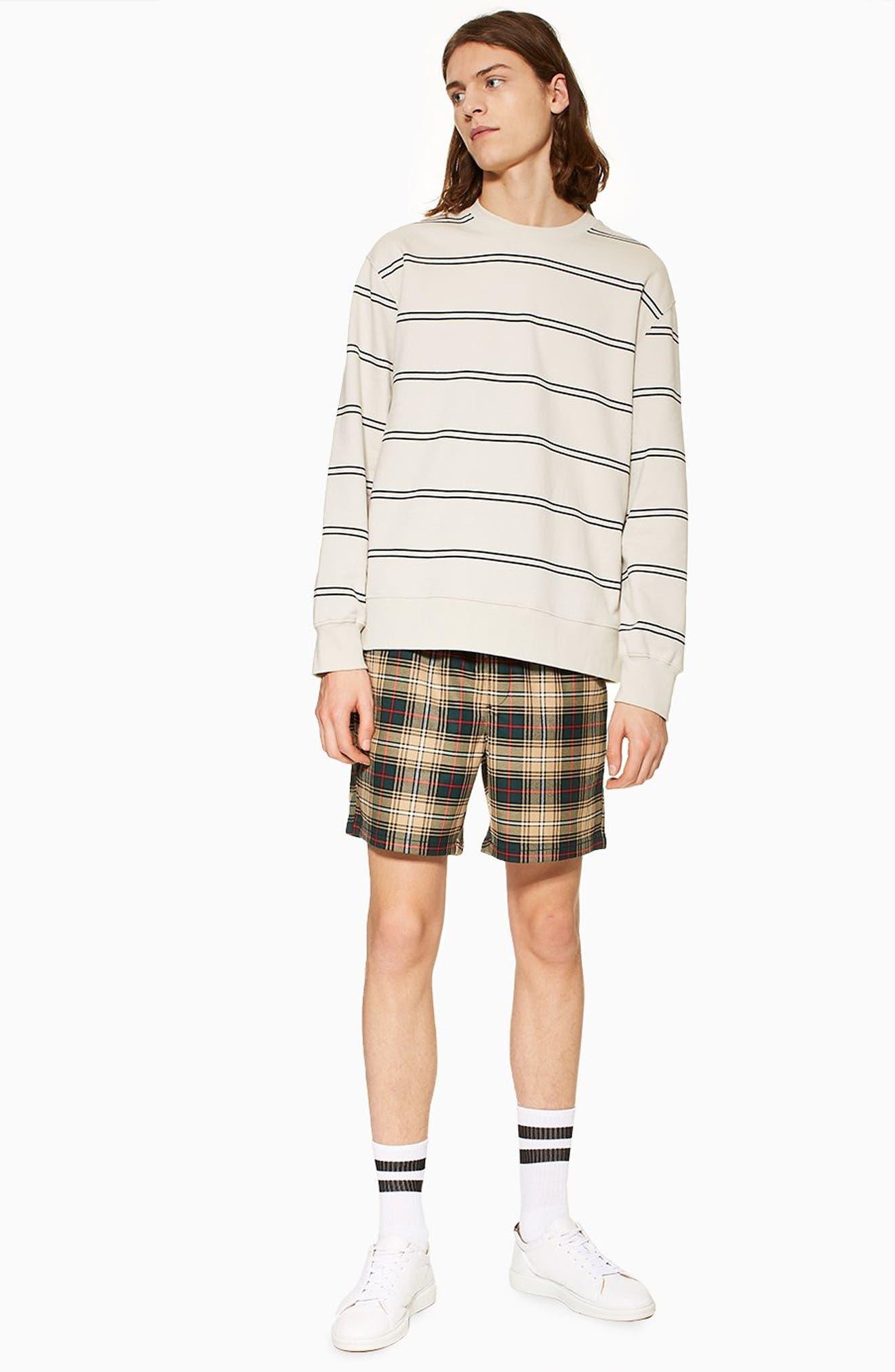 Check Shorts,                             Alternate thumbnail 5, color,                             BEIGE MULTI