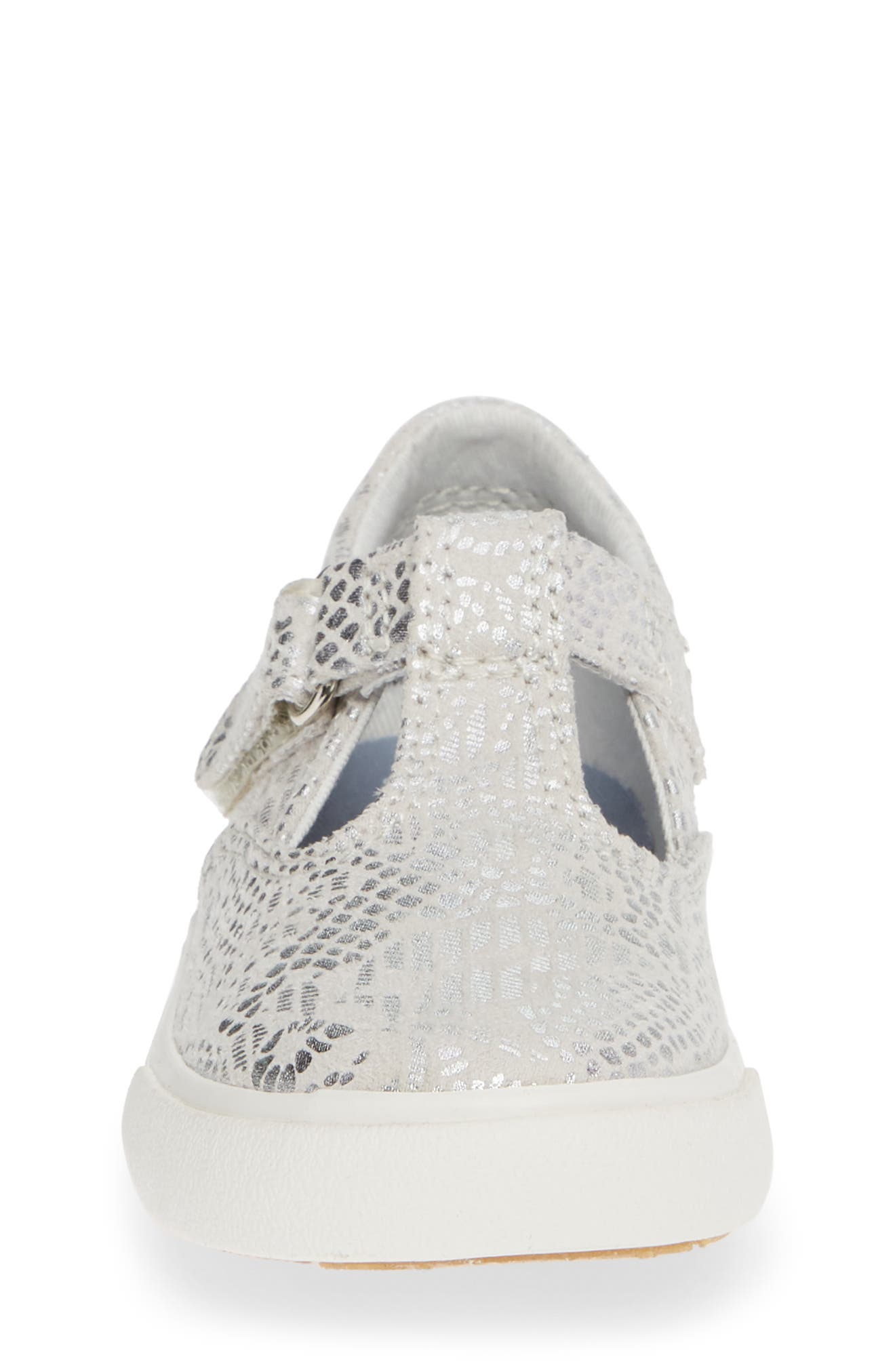 Daphne T-Strap Sneaker,                             Alternate thumbnail 4, color,                             SILVER/ SILVER