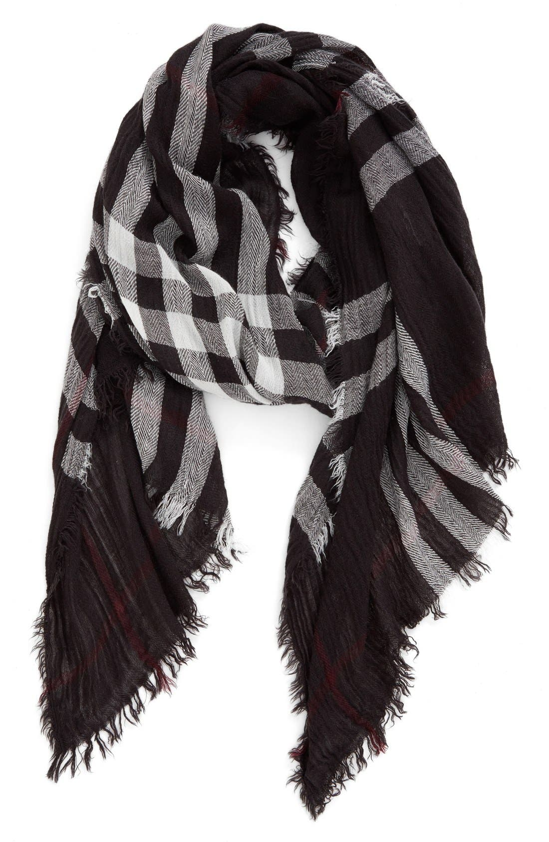 Plaid Oblong Scarf,                             Main thumbnail 1, color,                             025
