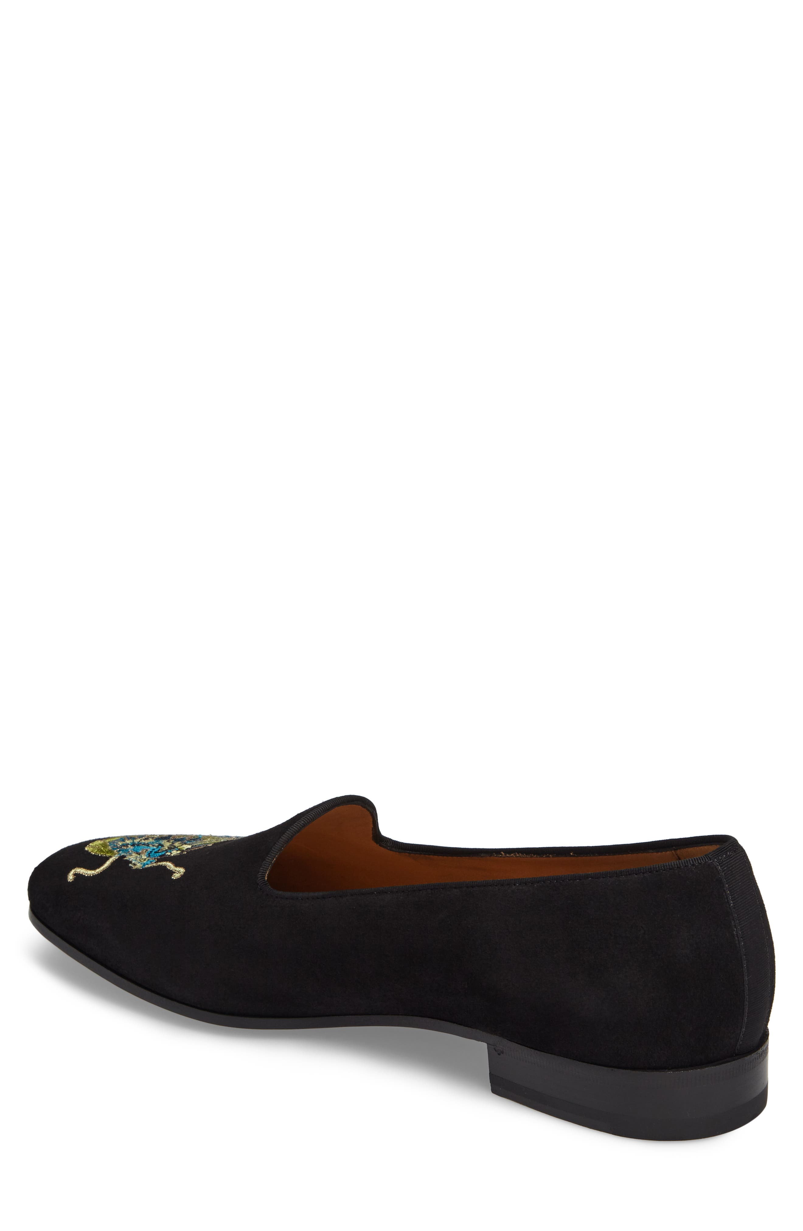 Dragon Embroidered Suede Loafer,                             Alternate thumbnail 2, color,                             BLACK SUEDE