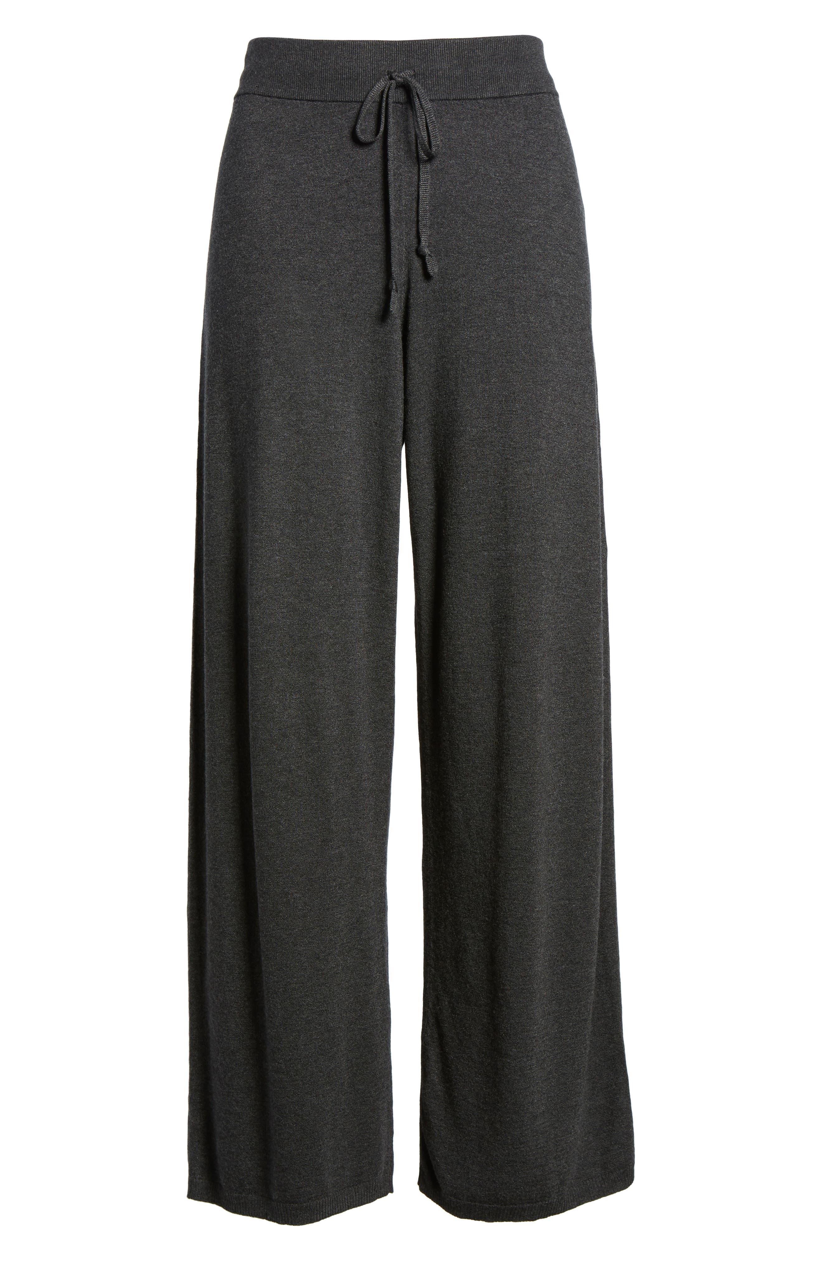 Tencel<sup>®</sup> Lyocell Blend Knit Wide Leg Pants,                             Alternate thumbnail 6, color,